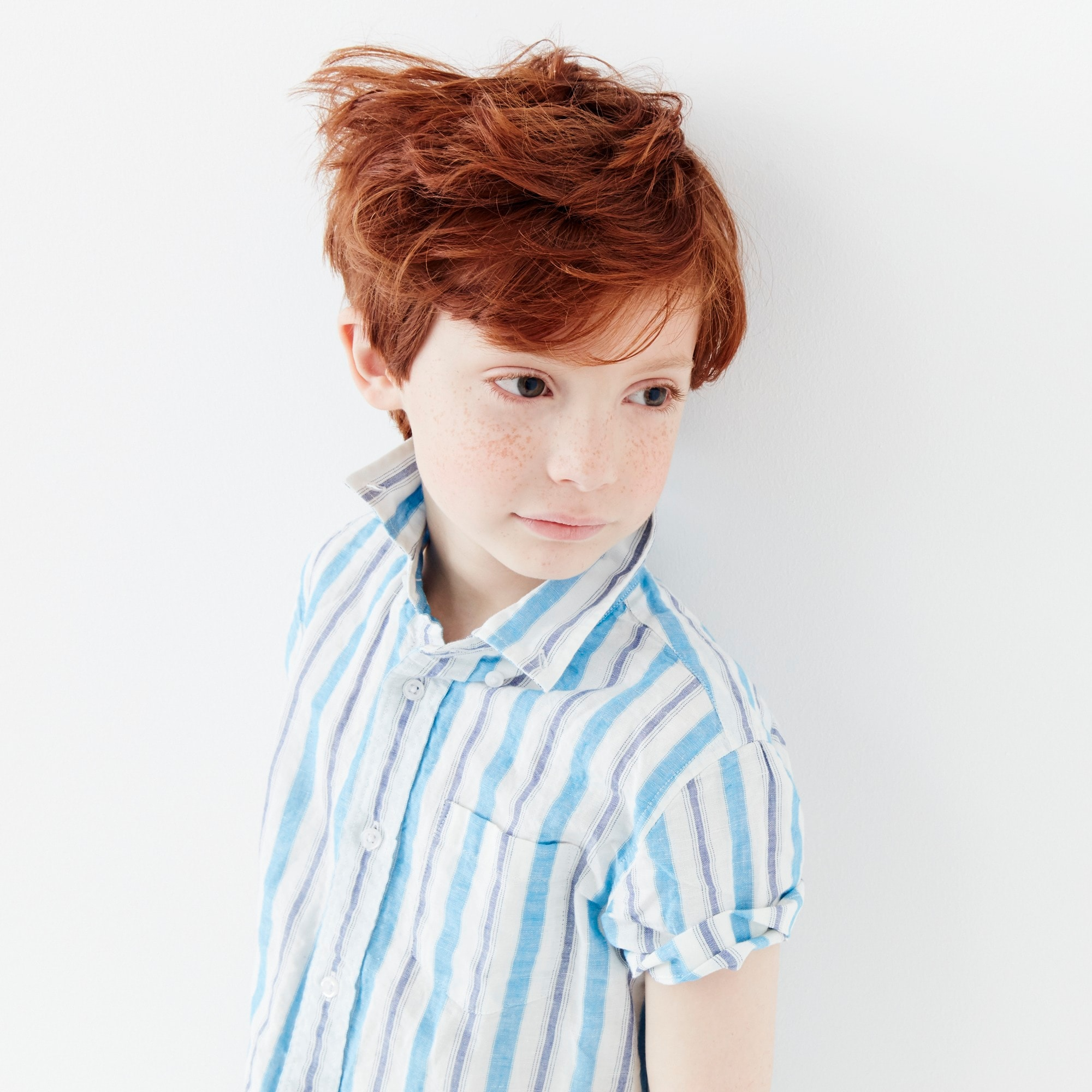 Boys' short-sleeve shirt in stripes