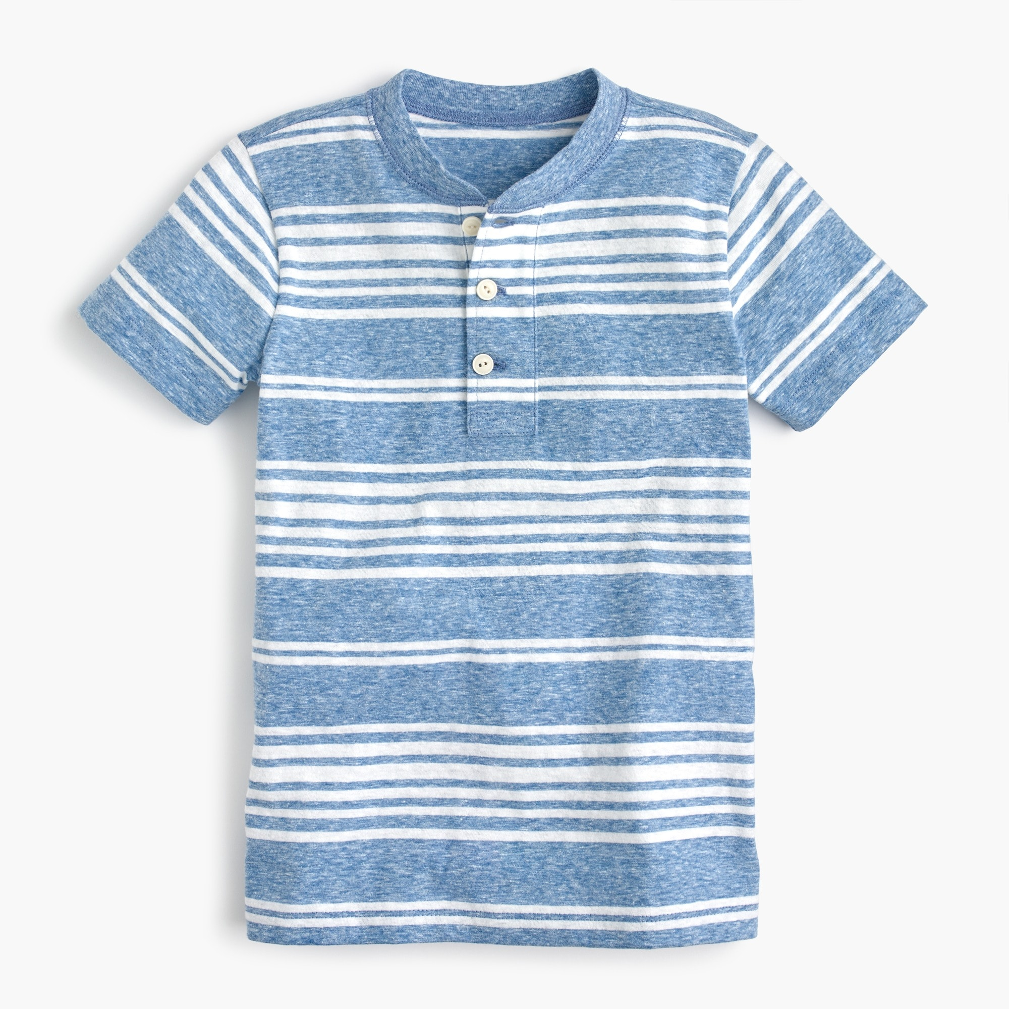Boys' short-sleeve striped henley shirt in the softest jersey boy new arrivals c