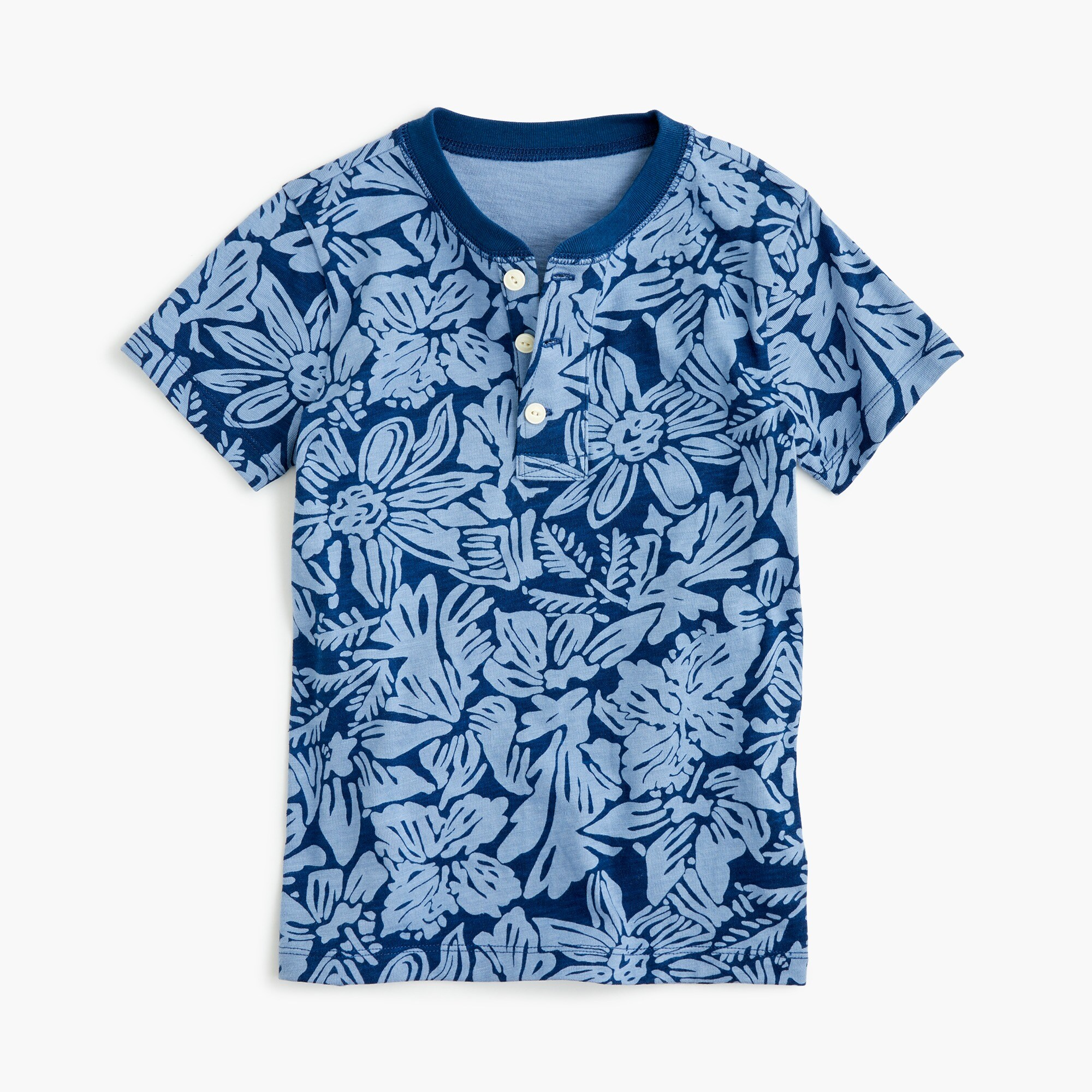 Boys' short-sleeve henley shirt in tropical print boy new arrivals c
