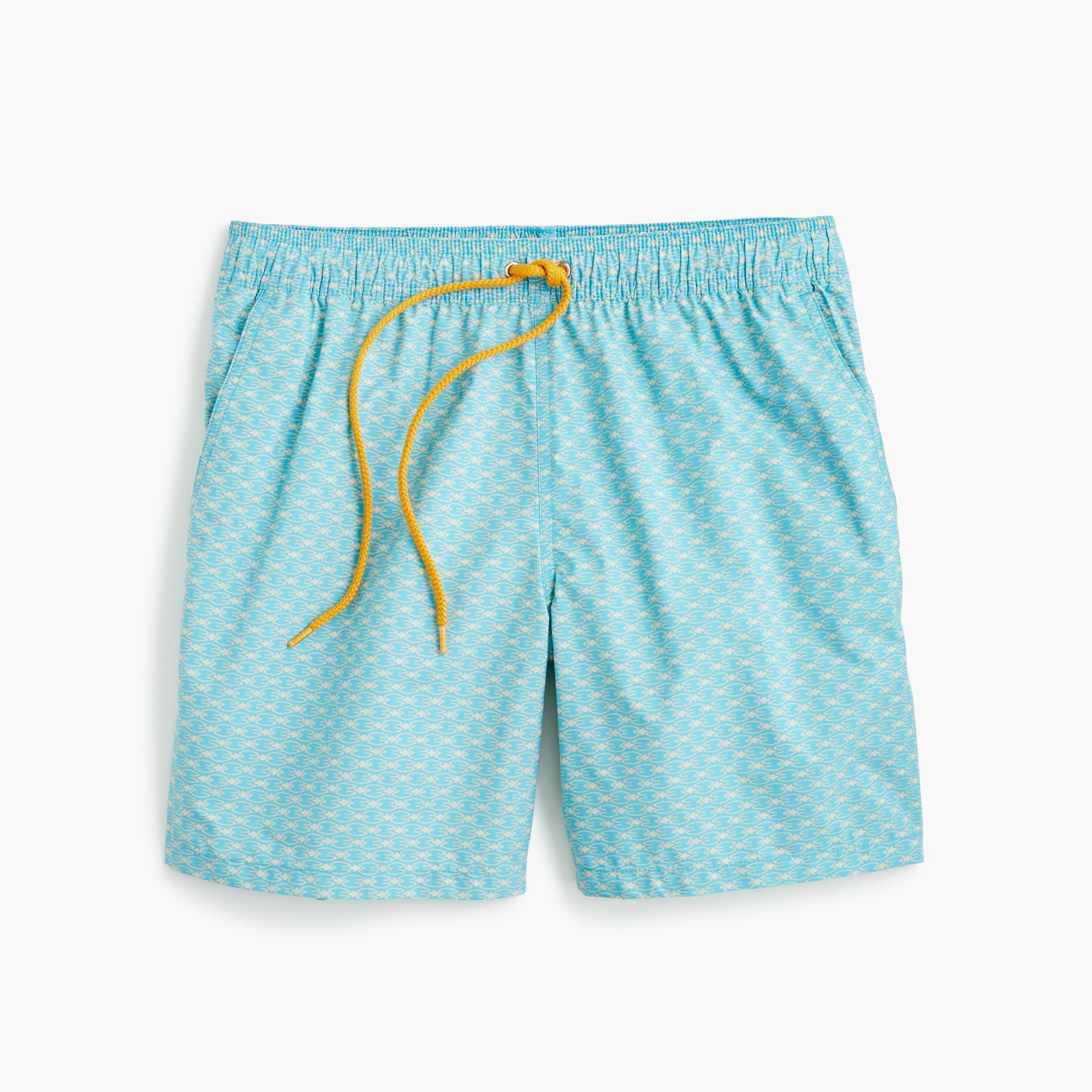 "6"" swim trunk in turquoise arrow print"