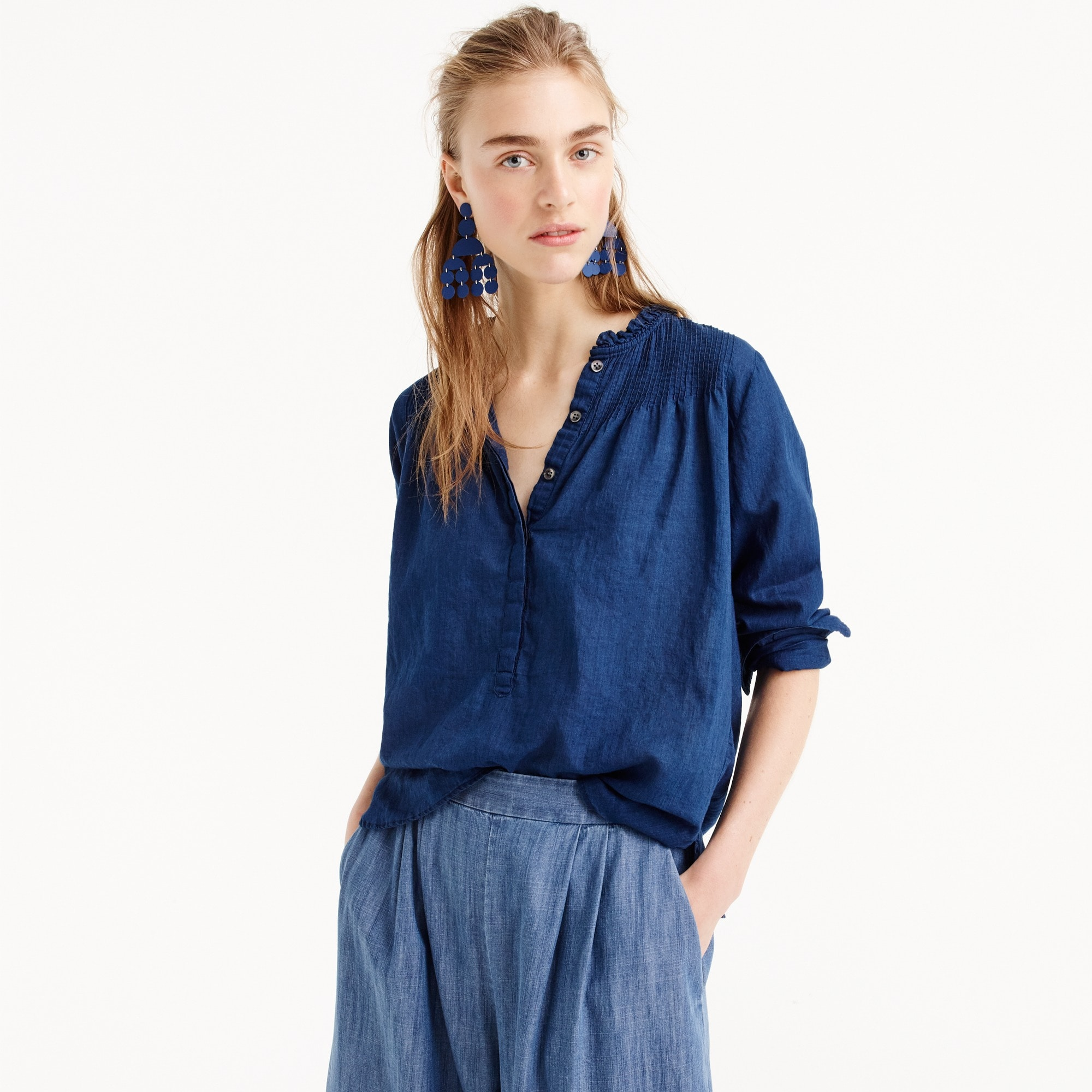 Ruffle classic popover shirt in indigo women shirts & tops c