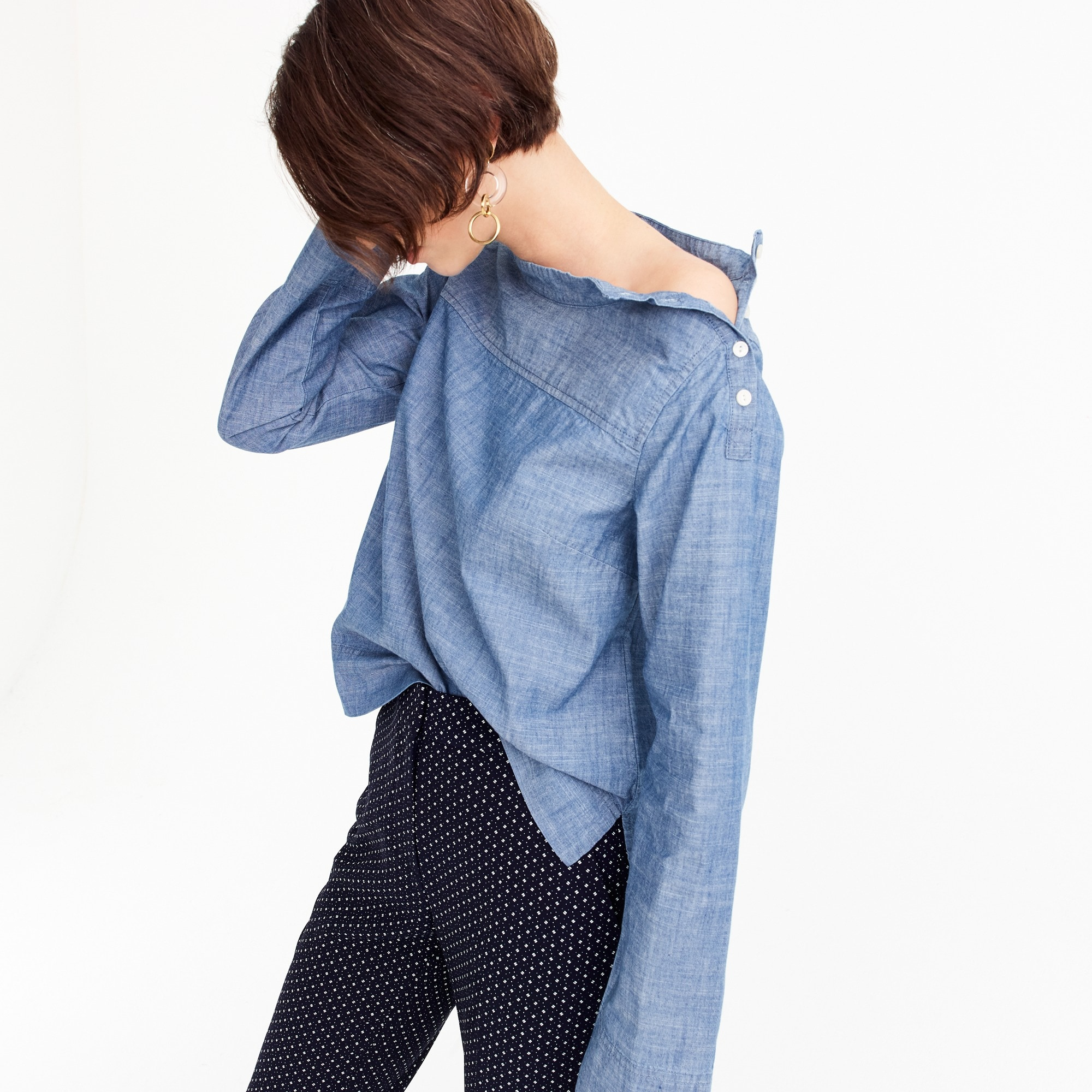 Image 1 for Funnelneck shirt in chambray