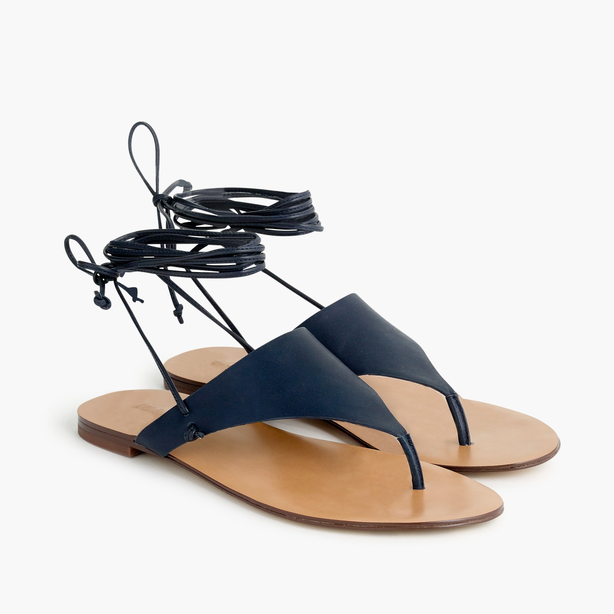 Ankle-tie thong sandals in leather women new arrivals c