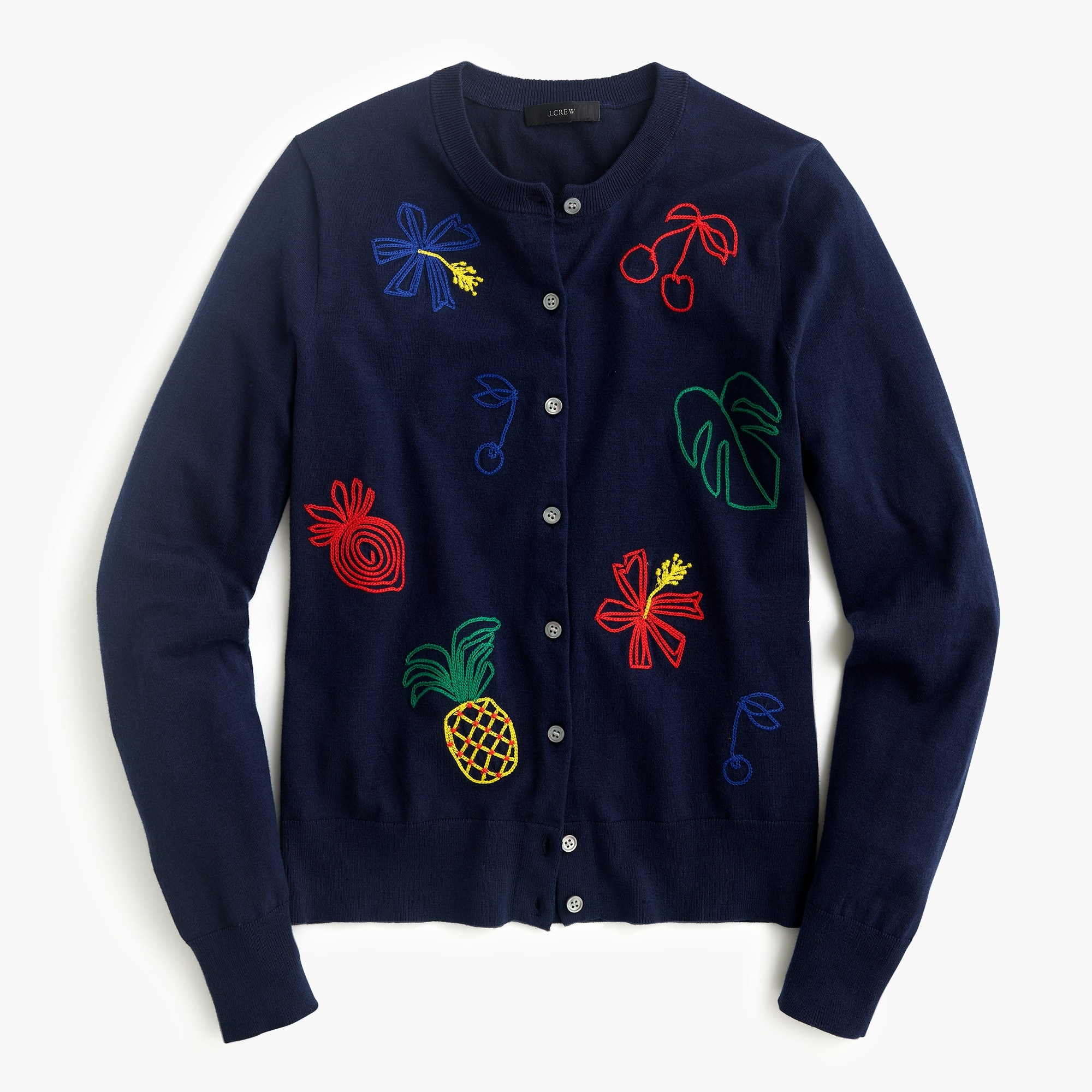Image 2 for Embroidered fruit cotton Jackie cardigan sweater