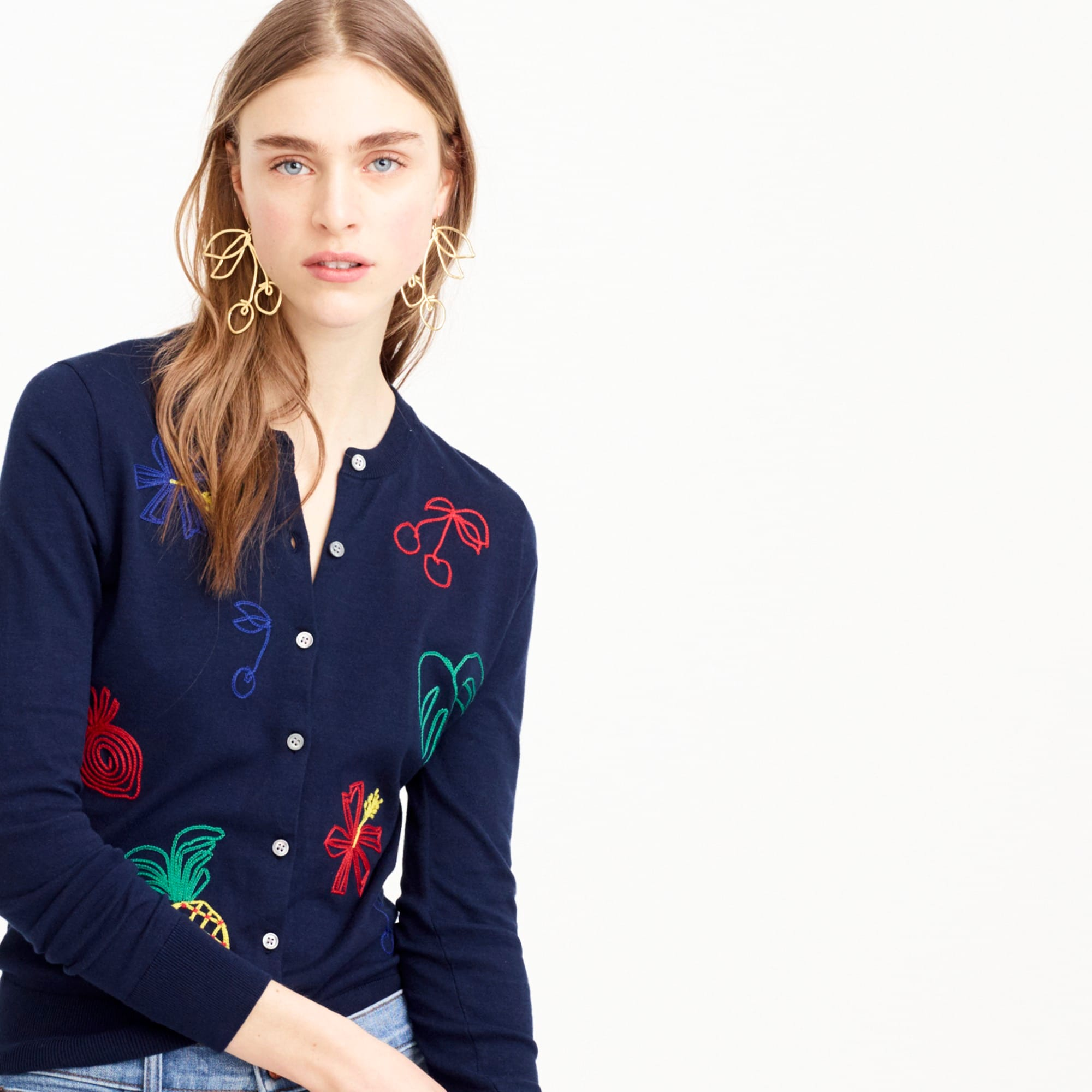 Image 1 for Embroidered fruit cotton Jackie cardigan sweater