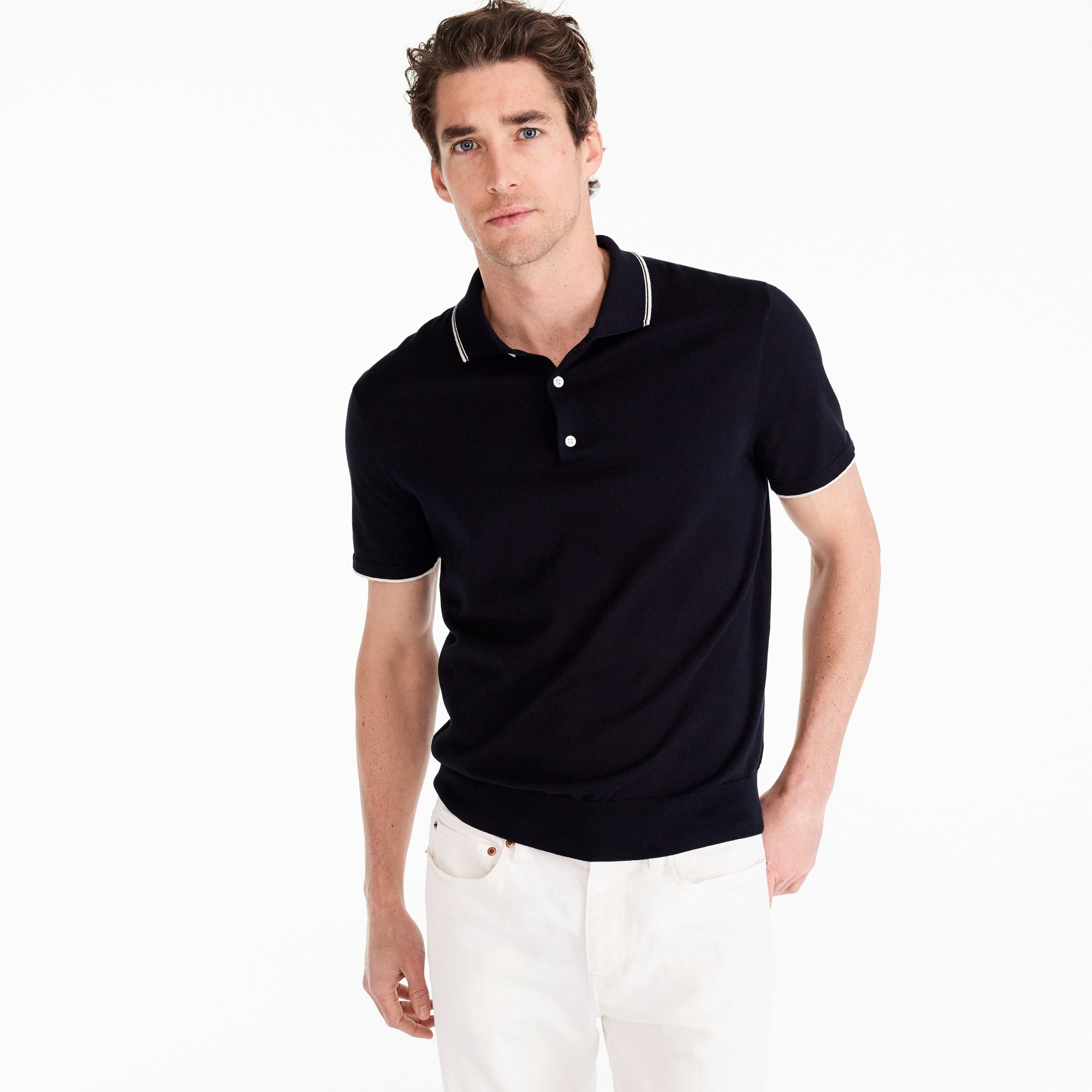 mens Pima cotton short-sleeve tipped sweater polo