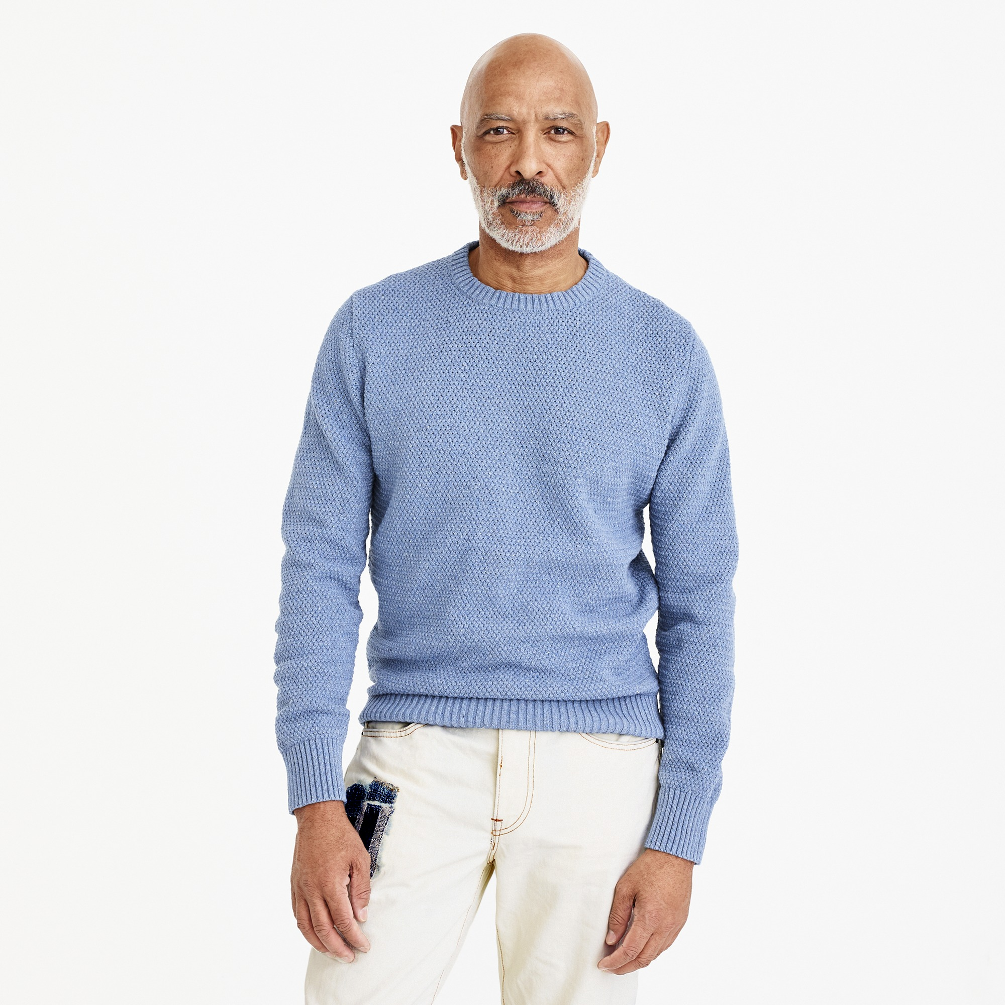 men's wallace & barnes basketweave sweater in recycled italian denim - men's sweaters