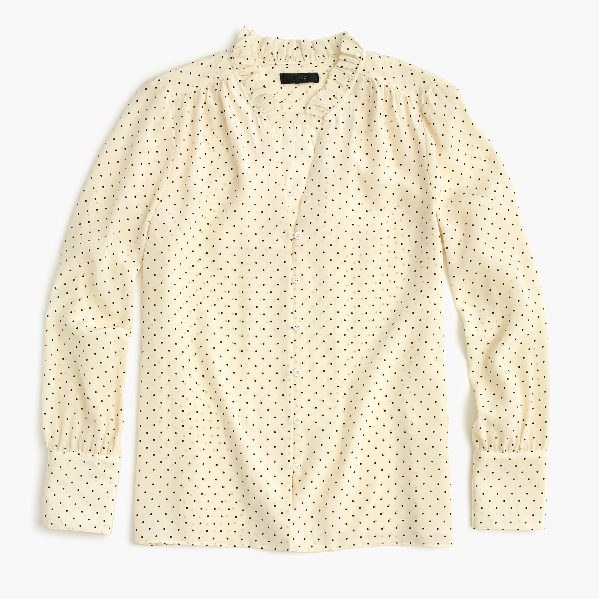 Petite silk ruffle-neck blouse in dot