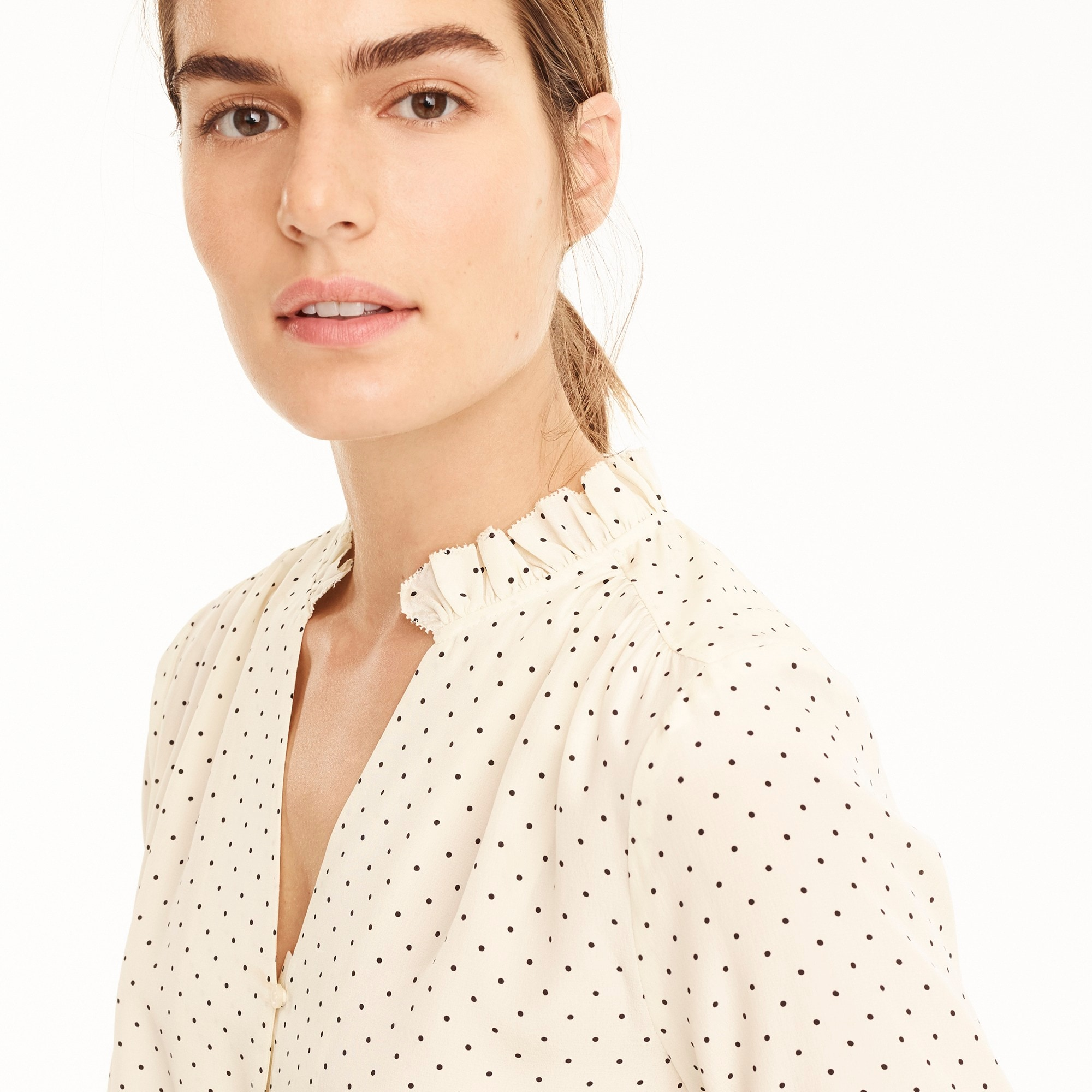 Silk ruffle-neck blouse in dot women shirts & tops c