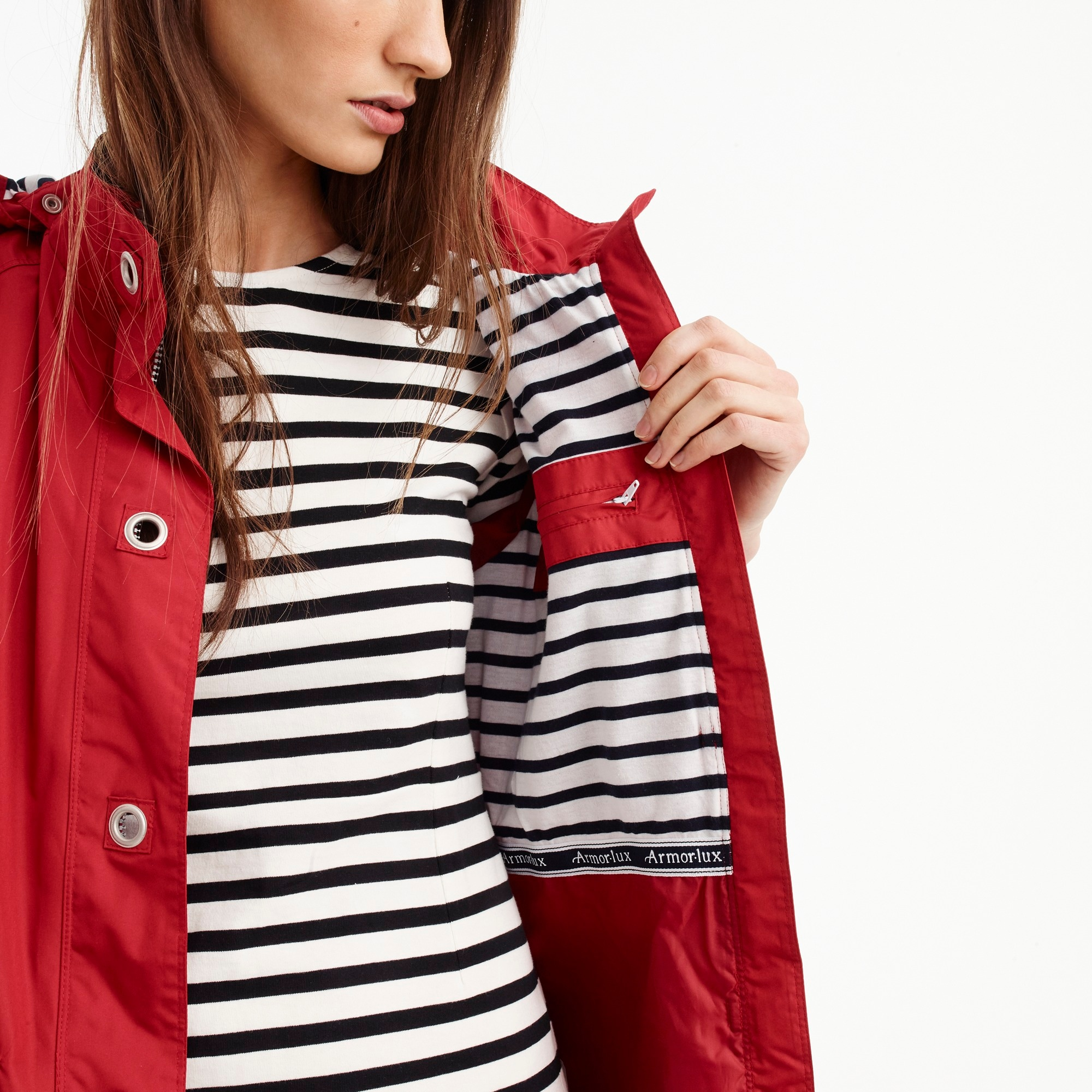 Armor-Lux® for J.Crew raincoat with striped lining