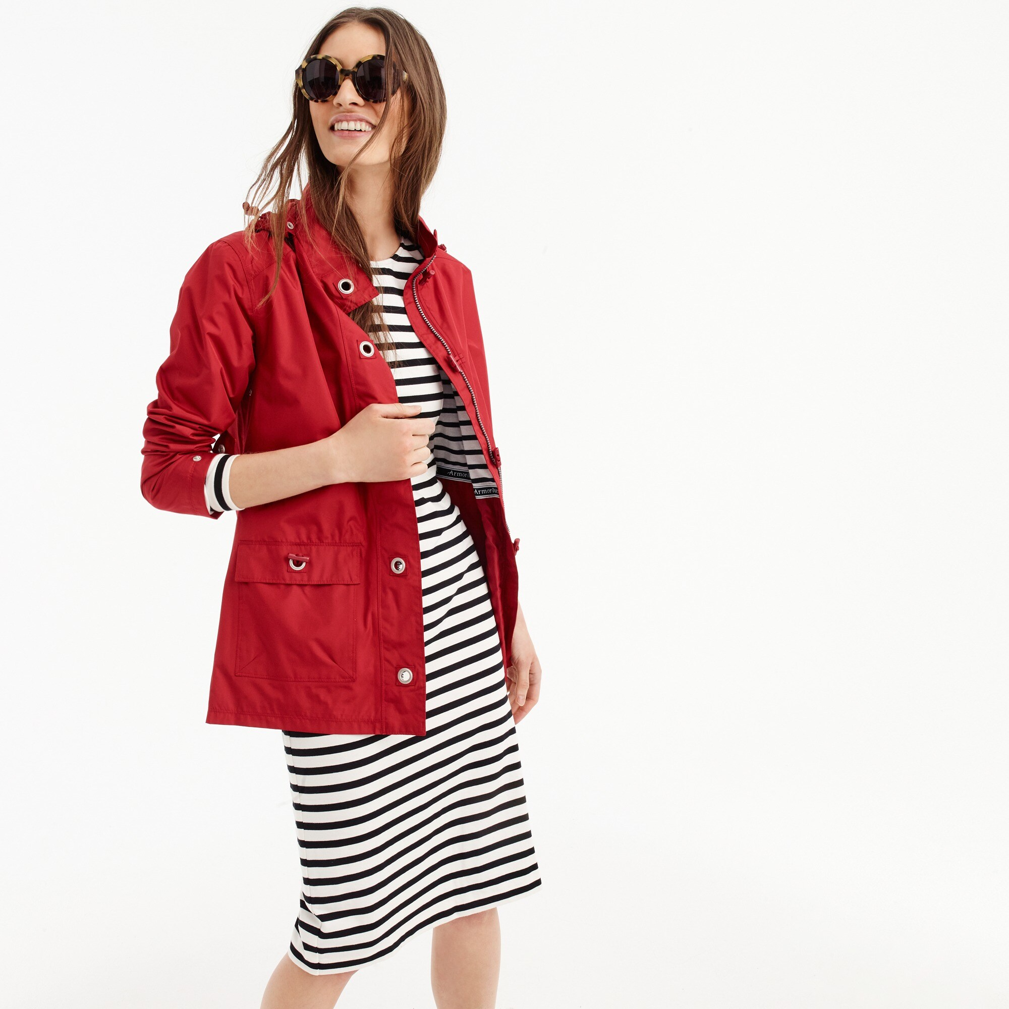 women's armor-lux® for j.crew raincoat with striped lining - women's outerwear & jackets