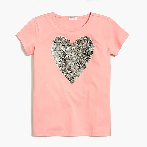 factory girls Girls' sequin heart graphic T-shirt