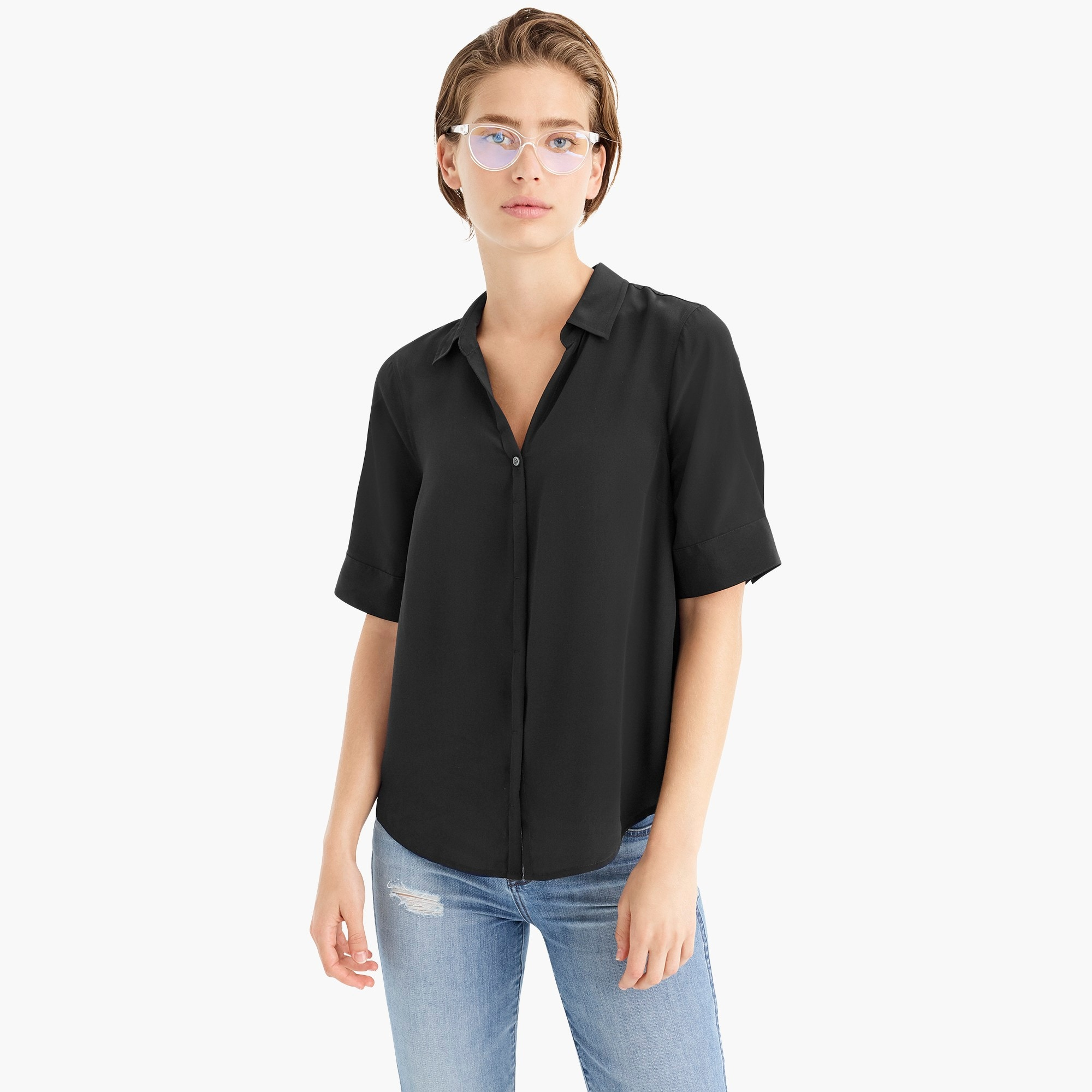 womens Short-sleeve button-up shirt in silk