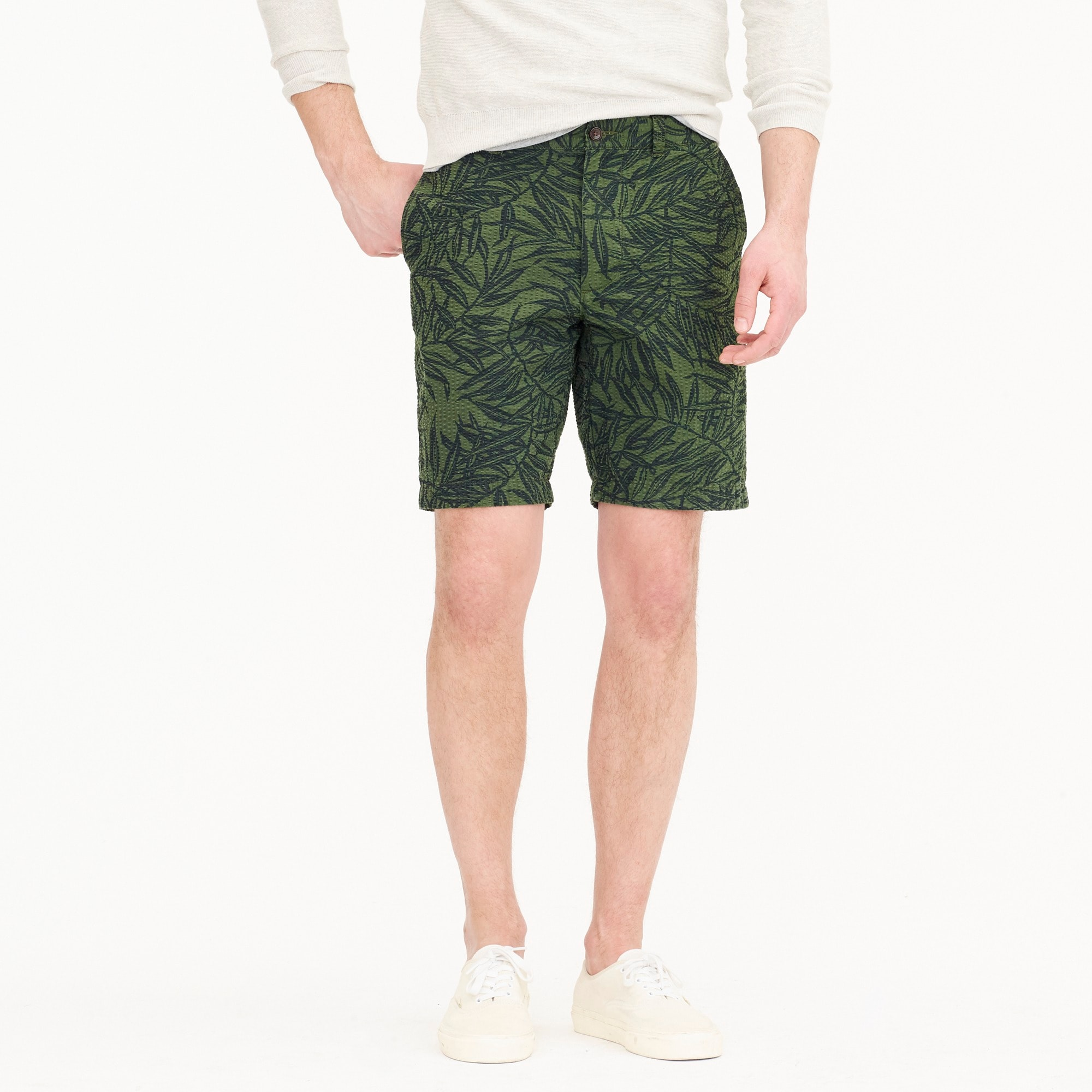"9"" seersucker short in palm print men new arrivals c"