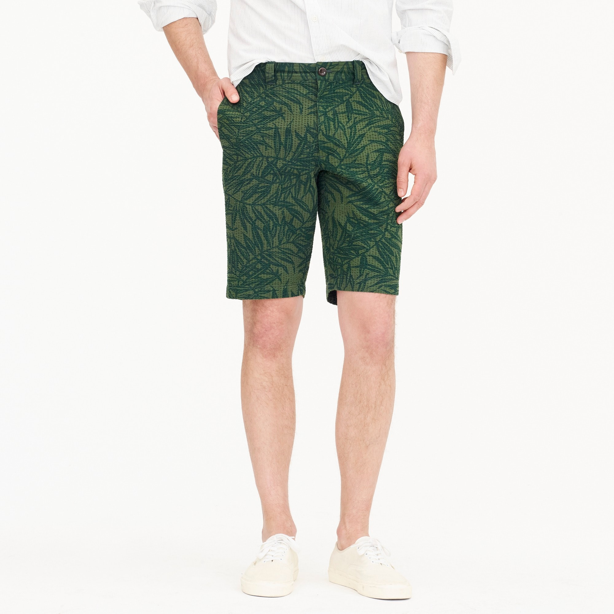 "mens 10.5"" seersucker short in palm print"
