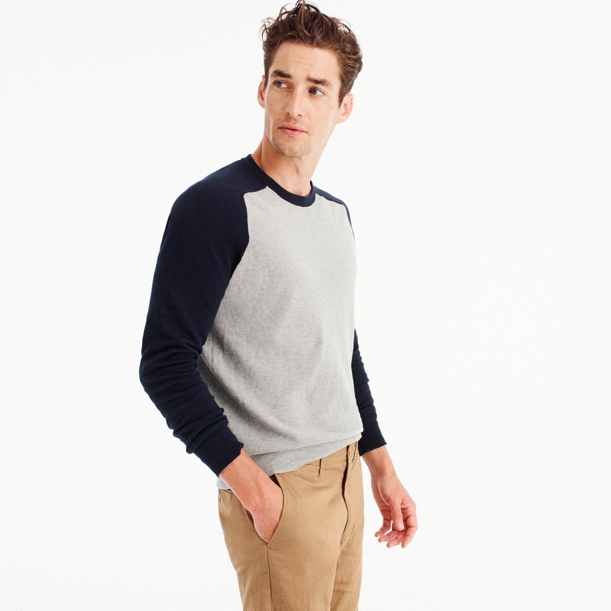 Cotton-cashmere piqué crewneck baseball sweater