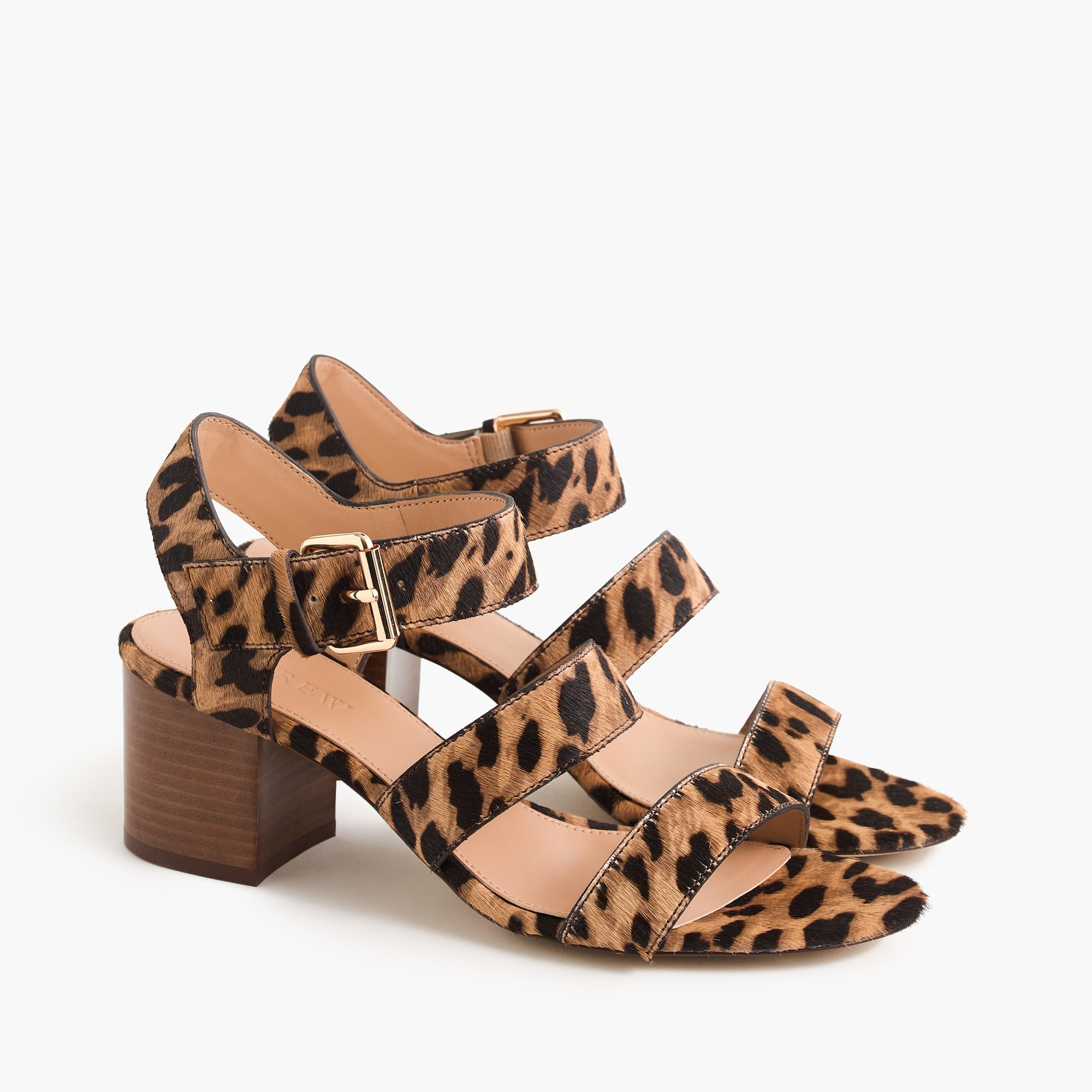Image 1 for Three-strap sandals in leopard calf hair