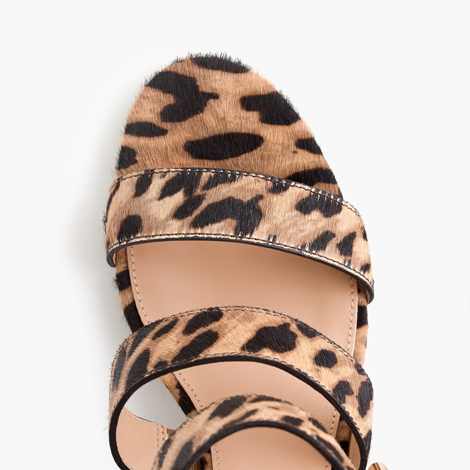 Image 2 for Three-strap sandals in leopard calf hair