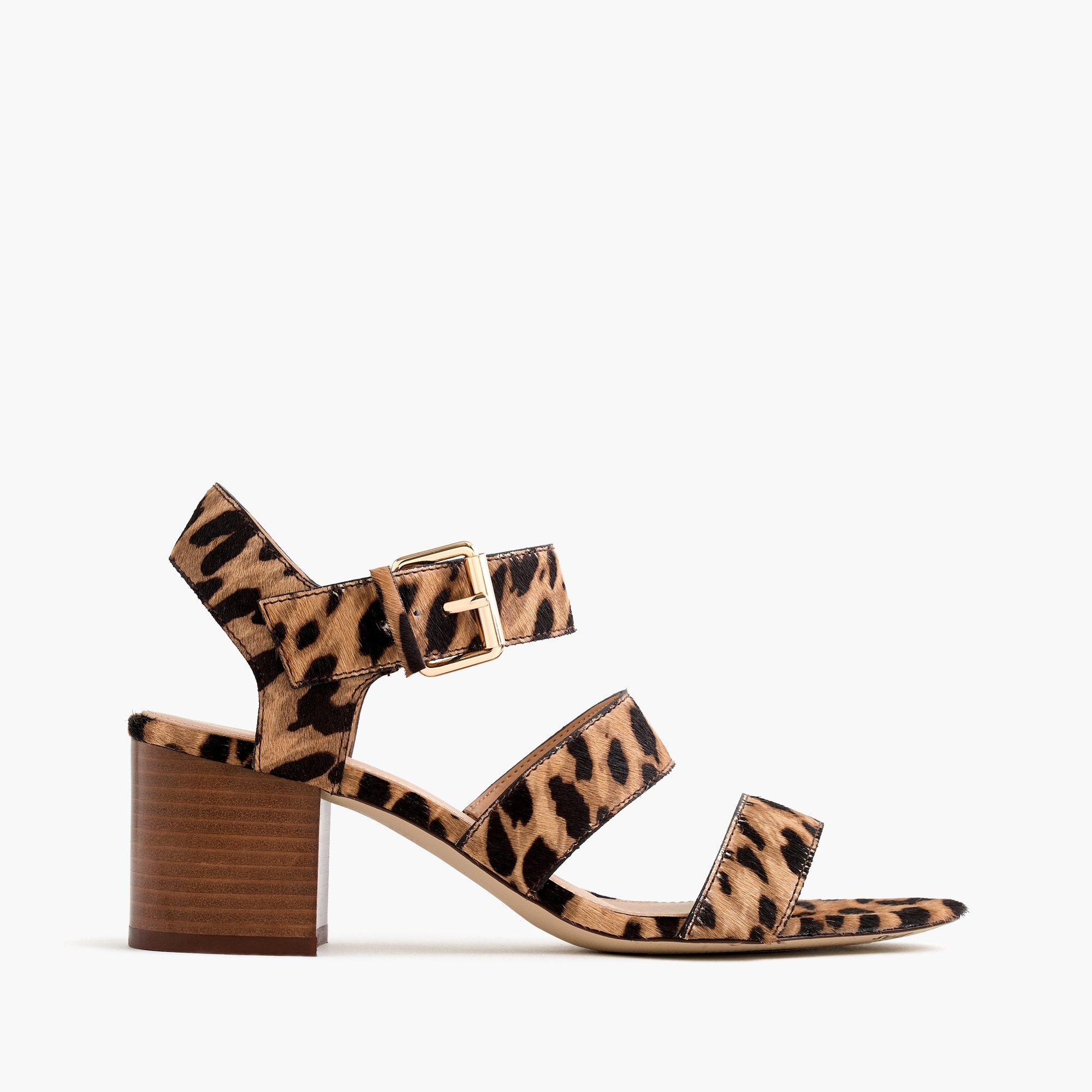 Three-strap sandals in leopard calf hair