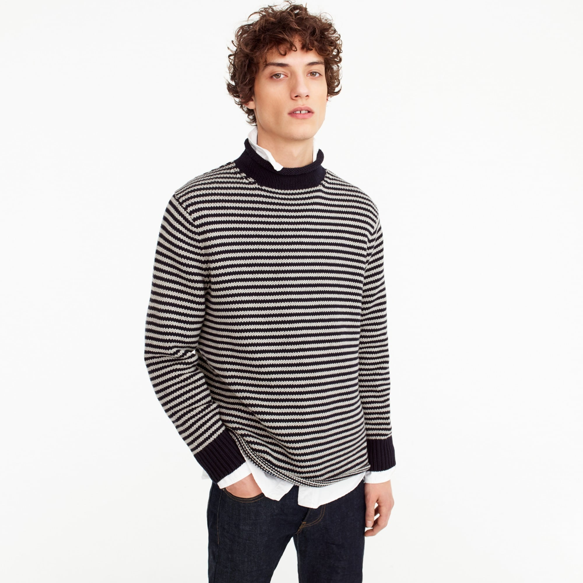 Unisex 1988 cotton rollneck™ sweater in stripe men sweaters c