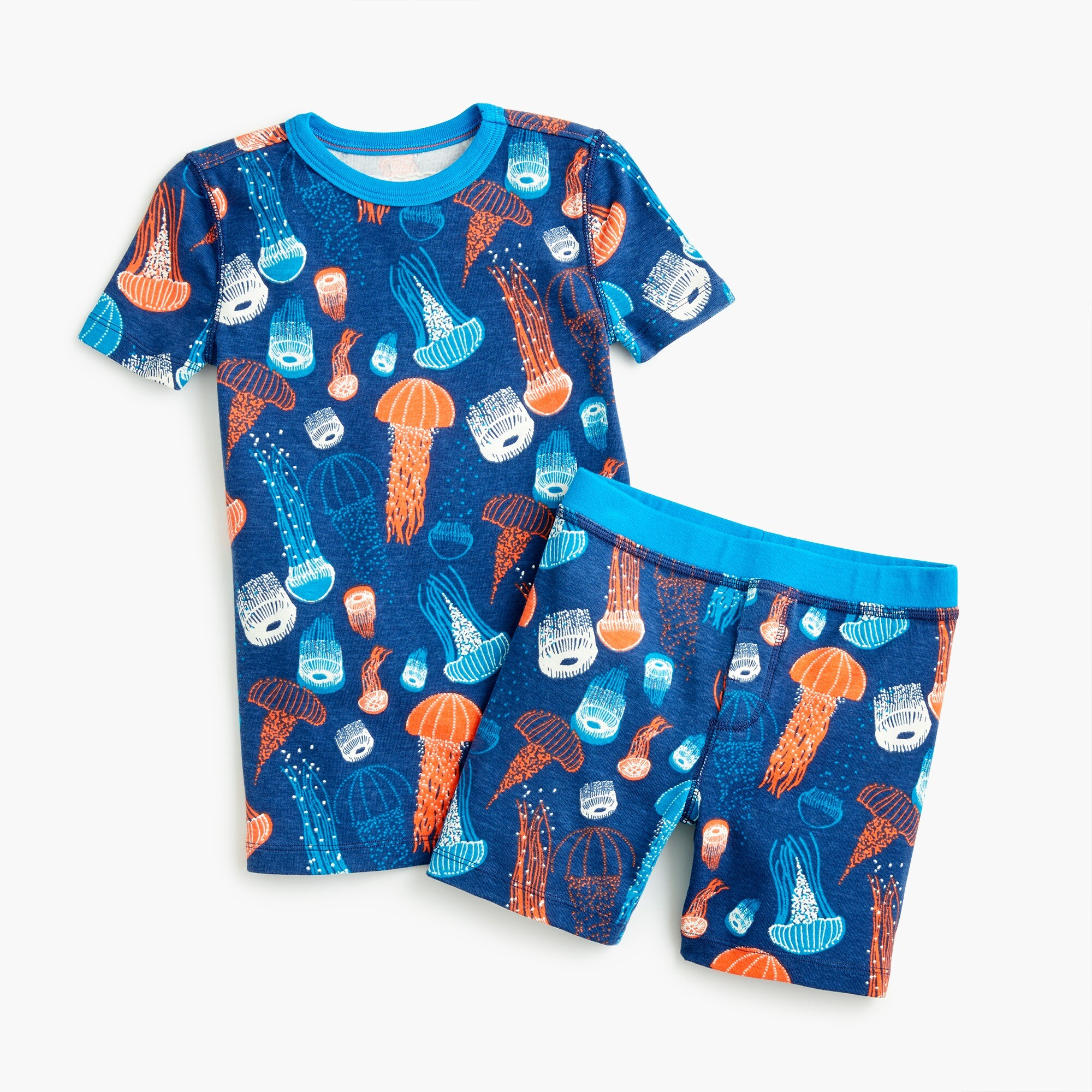 boys' glow-in-the-dark short pajama set in jellyfish - boys' sleepwear
