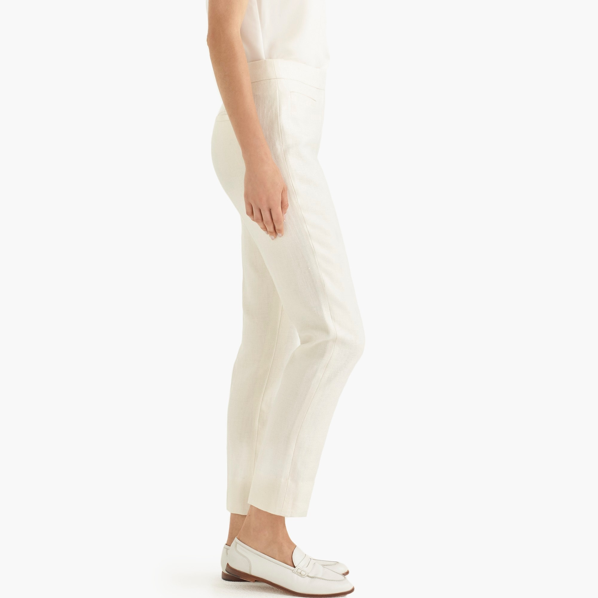 Petite French girl slim crop pant in linen