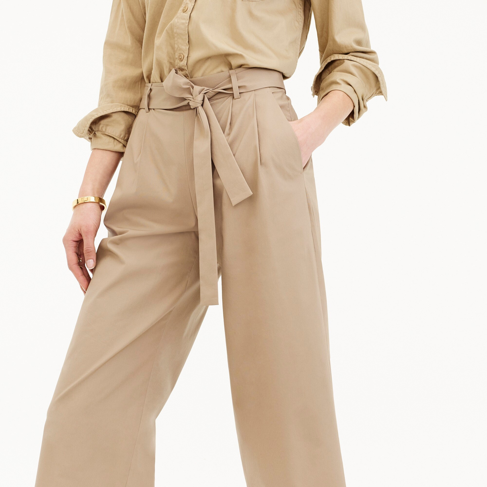 Image 2 for Tall wide-leg cropped pant in cotton-poplin