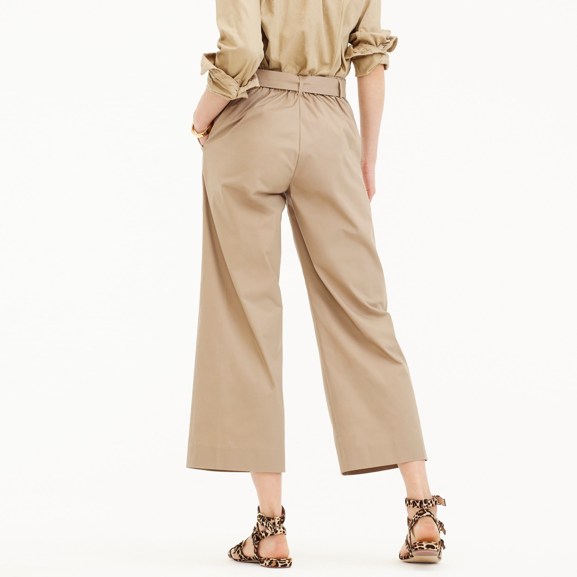 Tall wide-leg cropped pant in cotton-poplin