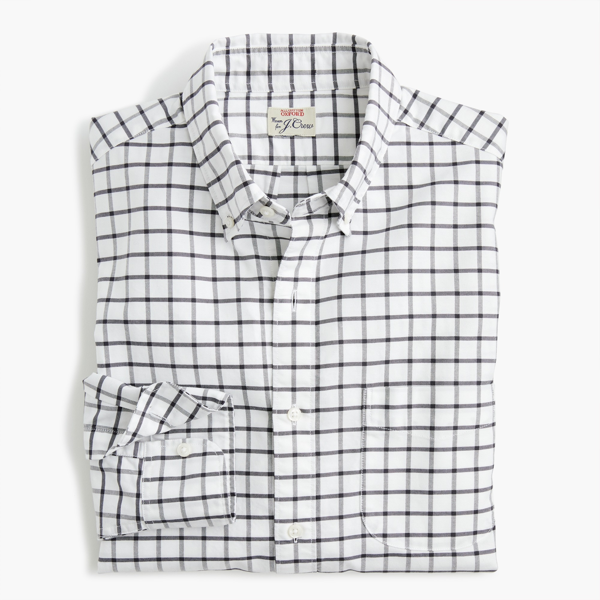 Slim American Pima cotton checked oxford shirt with mechanical stretch