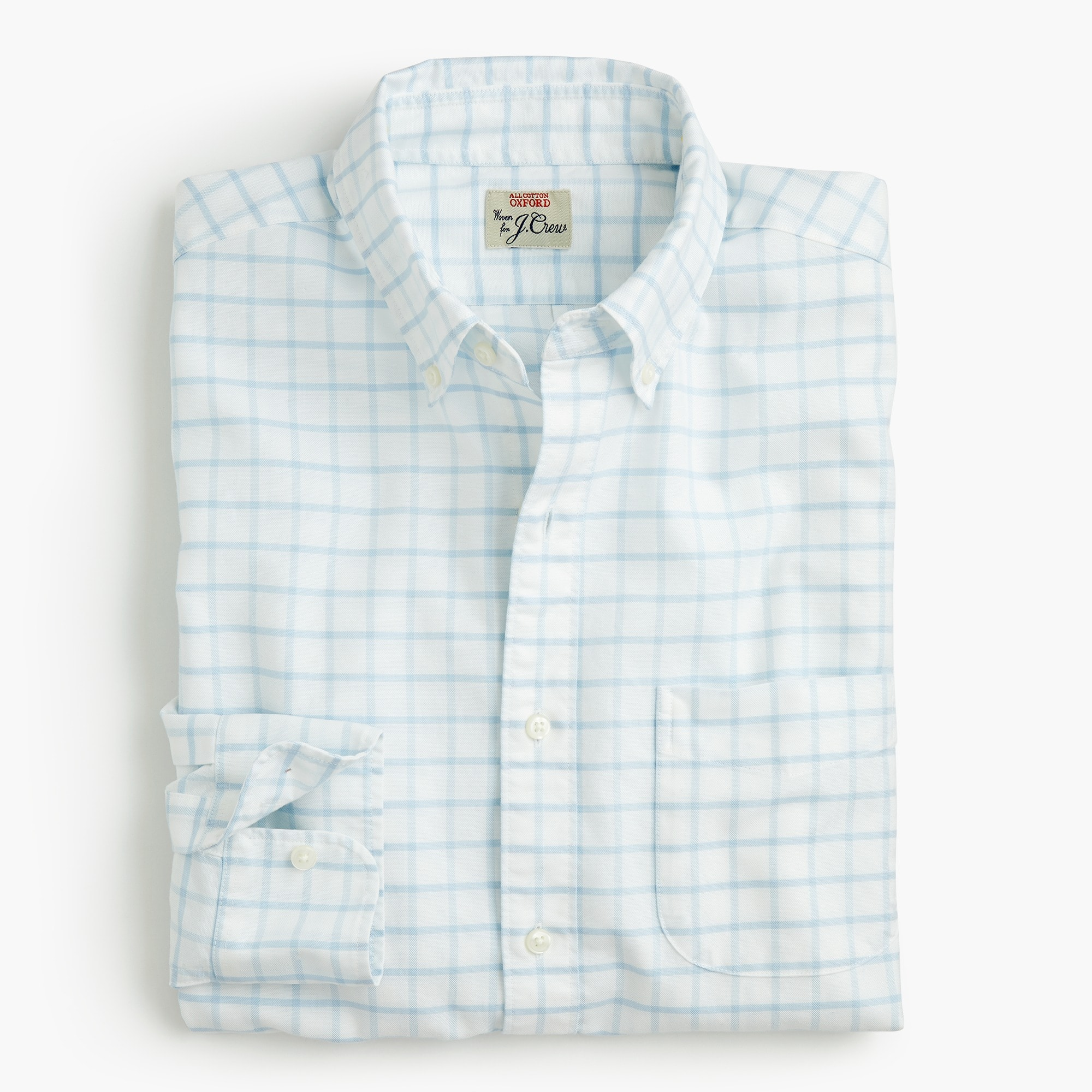 mens Slim American Pima cotton checked oxford shirt with mechanical stretch