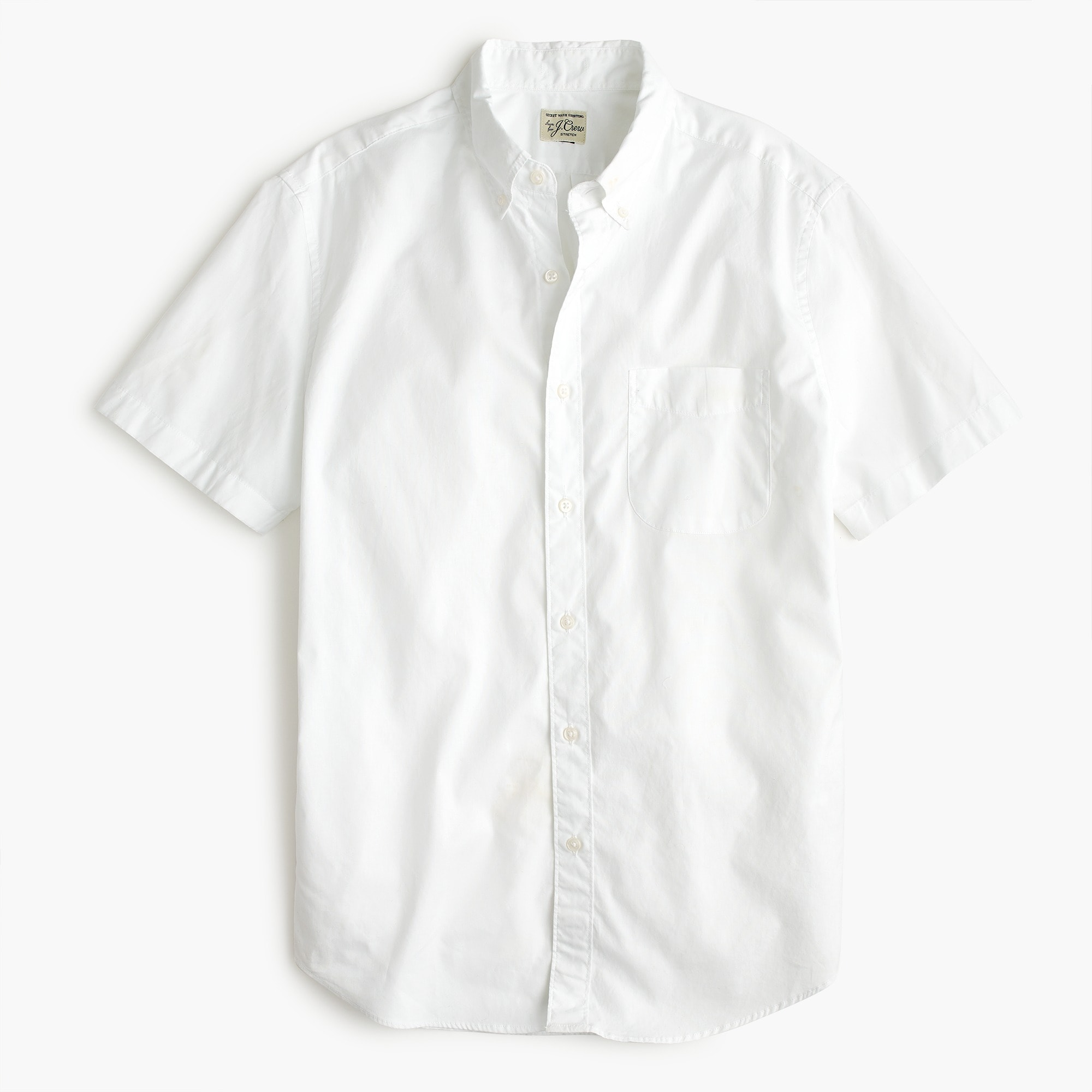 mens Short-sleeve shirt in stretch white poplin