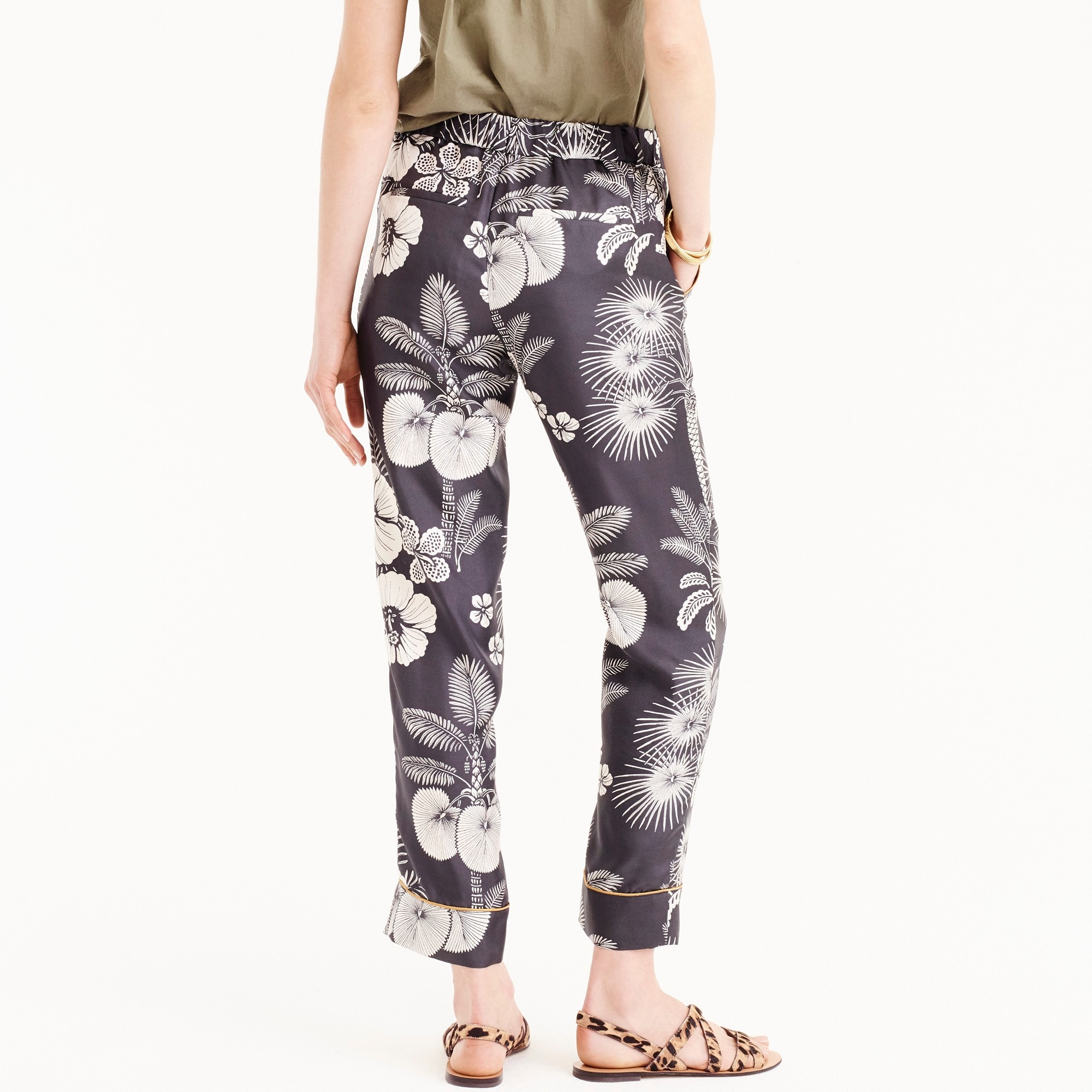 Image 3 for Tall pull-on easy pant in floral-printed silk twill