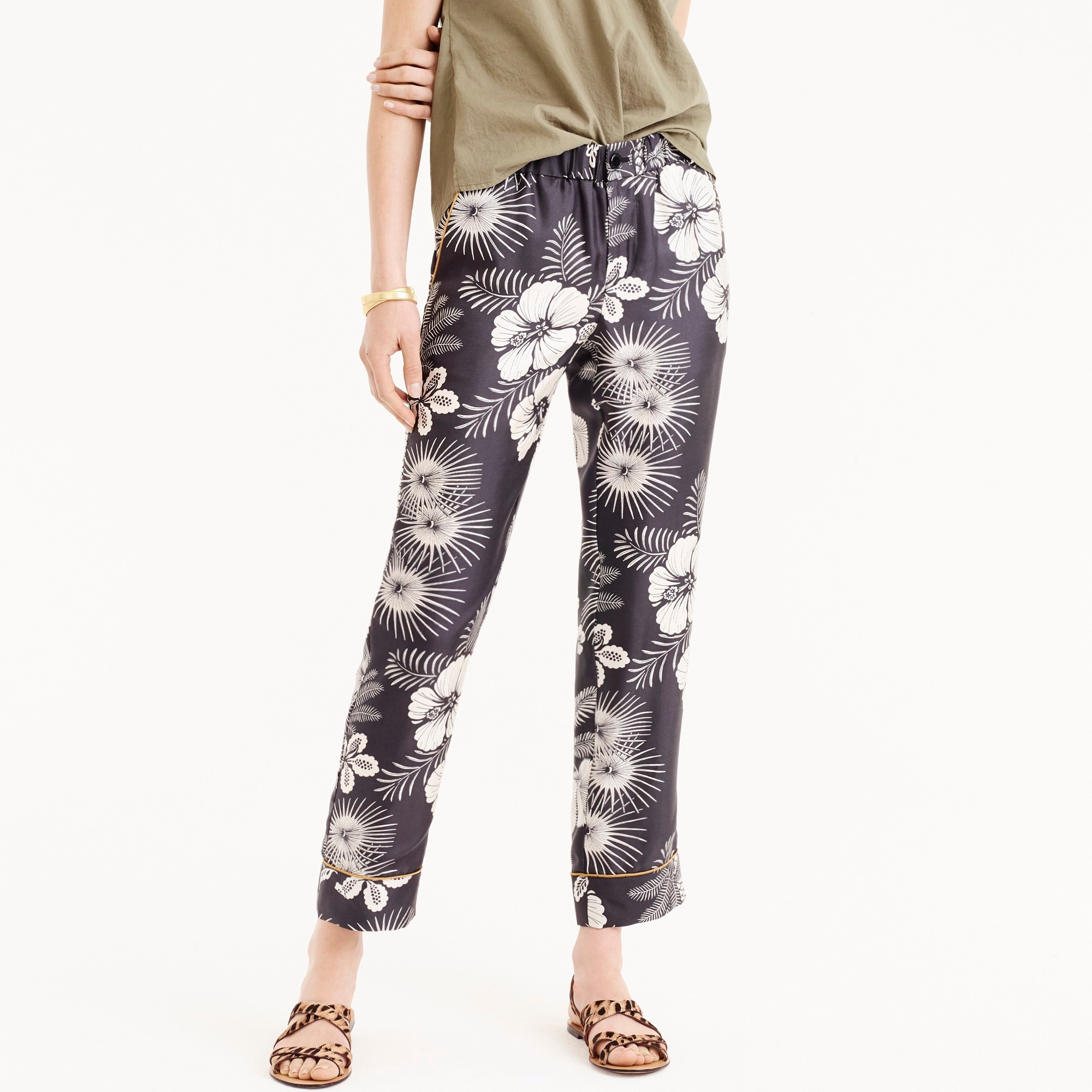 women's tall pull-on easy pant in floral-printed silk twill - women's pants
