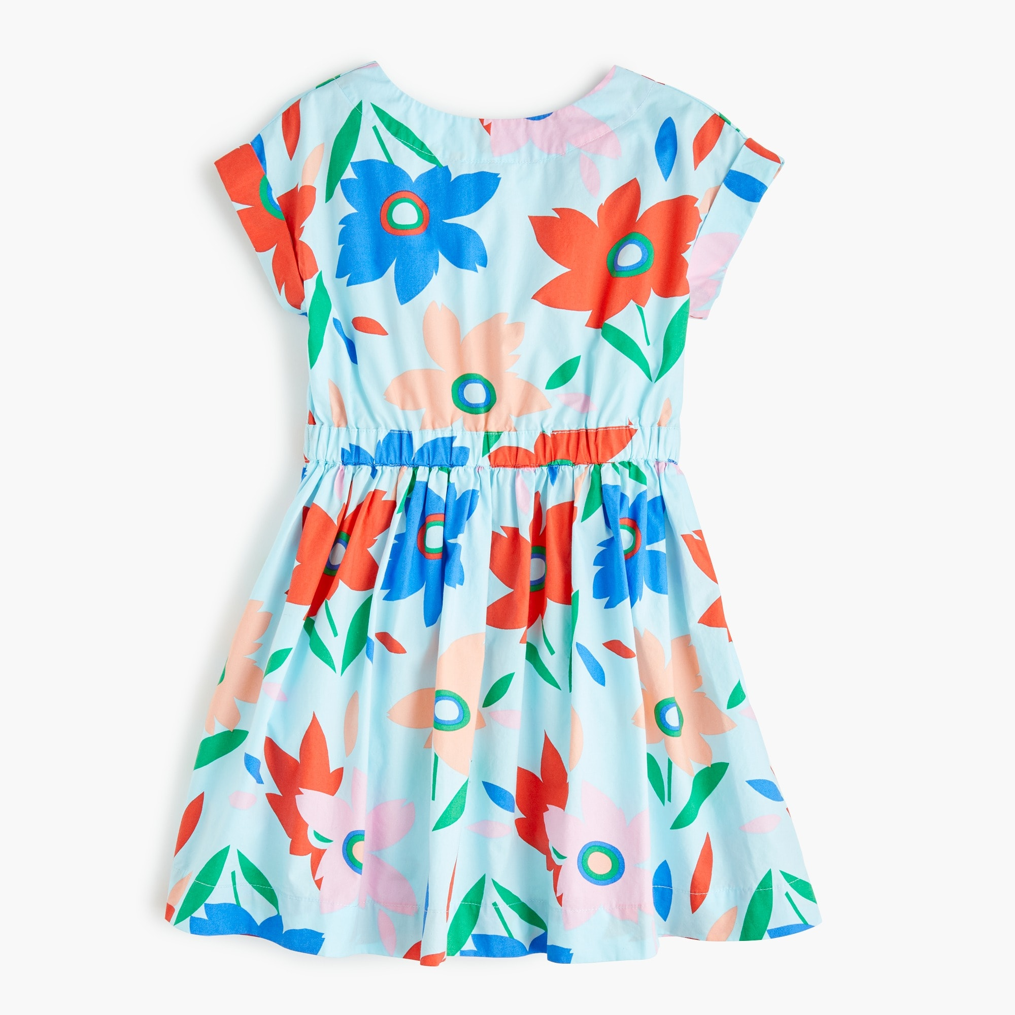 Girls' bow-back dress in floral