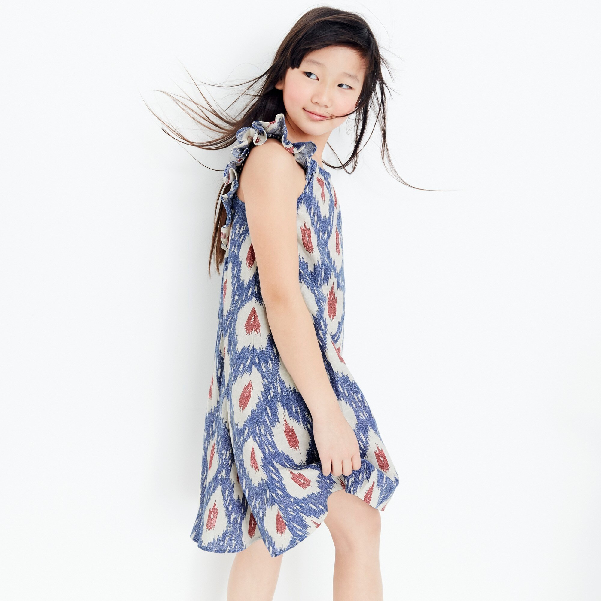Girls' flutter-sleeve dress in ikat