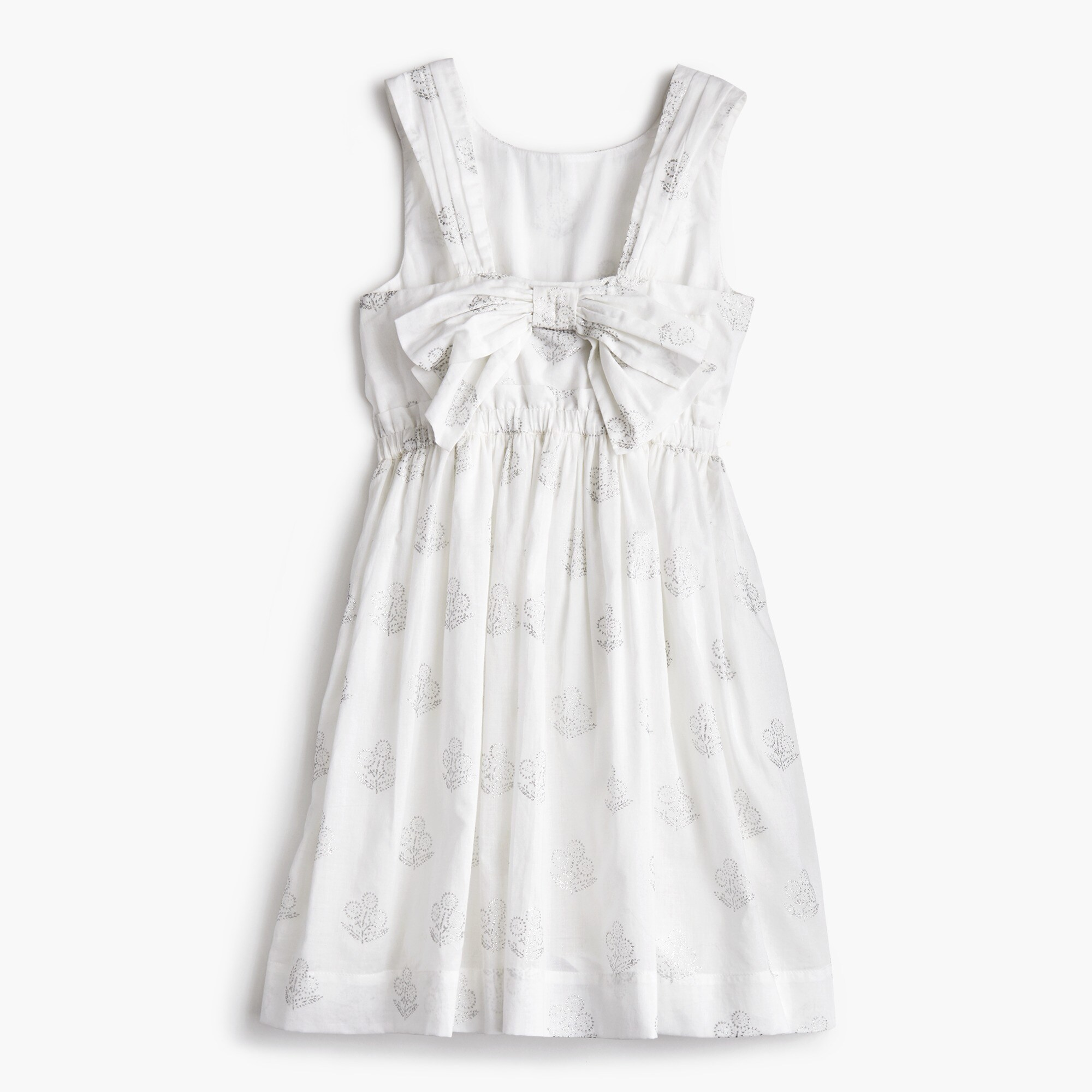 Image 2 for Girls' silver floral bow-back dress