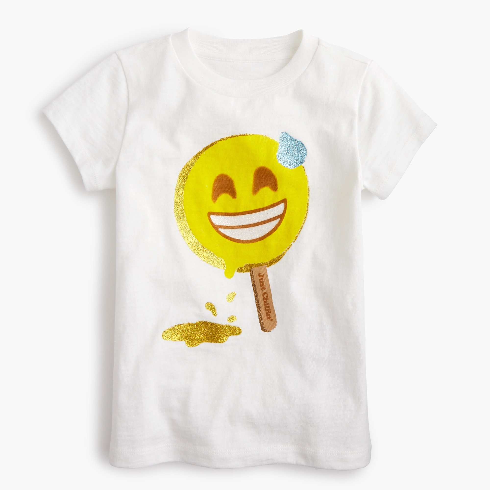 "Girls' ""just chilling"" emoji T-shirt girl graphics shop c"
