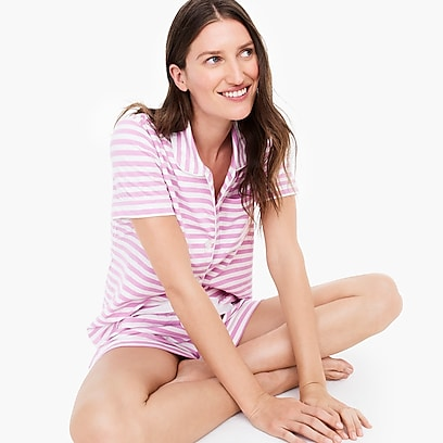 womens Dreamy short-sleeve cotton pajama set in stripe 93fe00da9