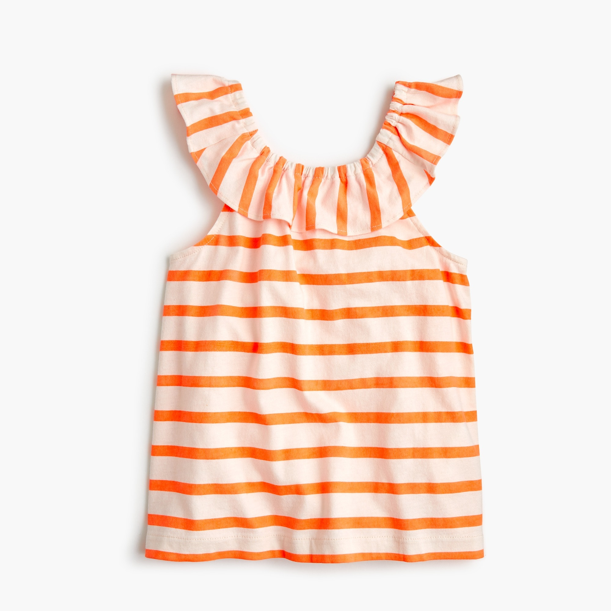 girls' ruffle-necked top in stripe - girls' tees