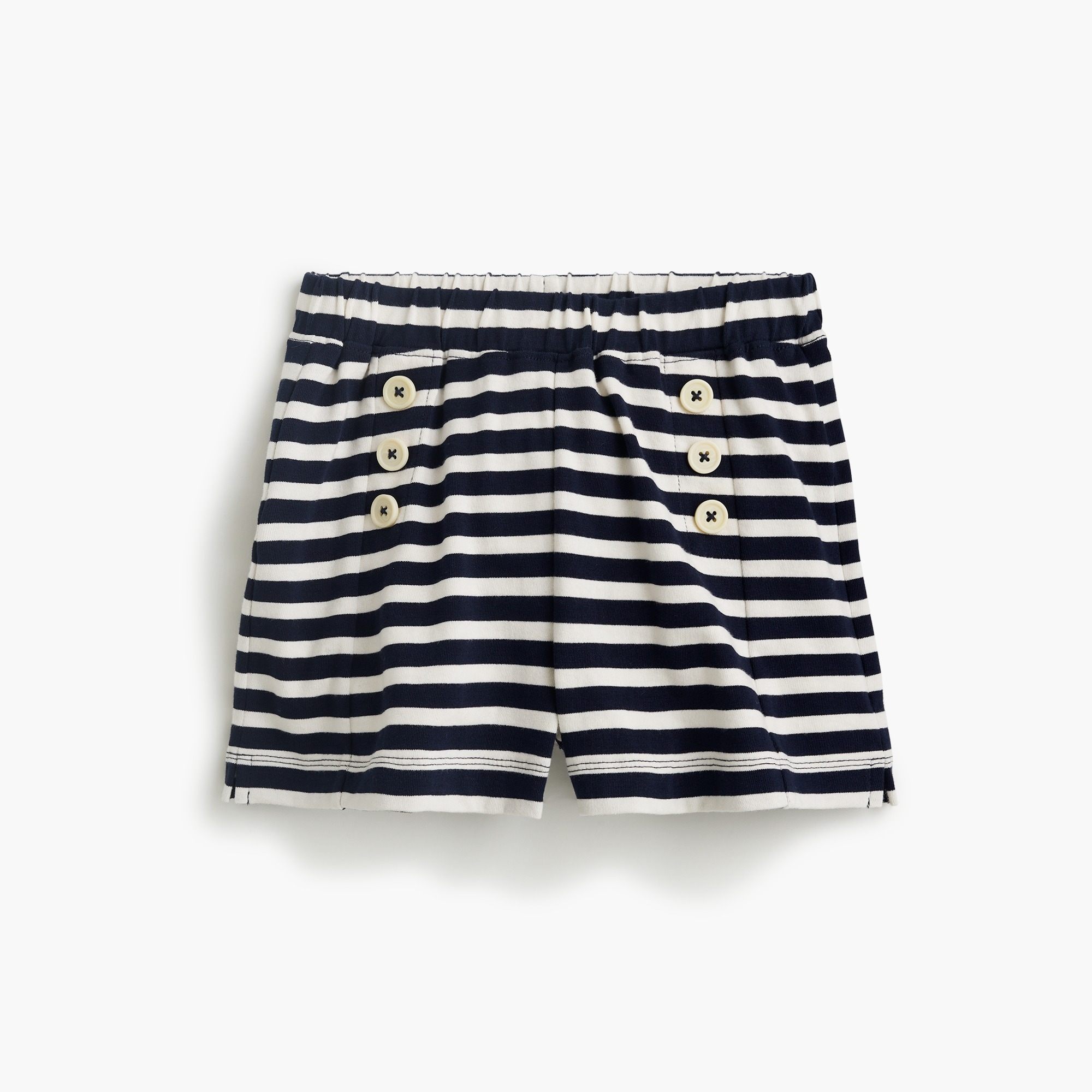 girls' sailor-style pull-on short in stripes - girls' bottoms