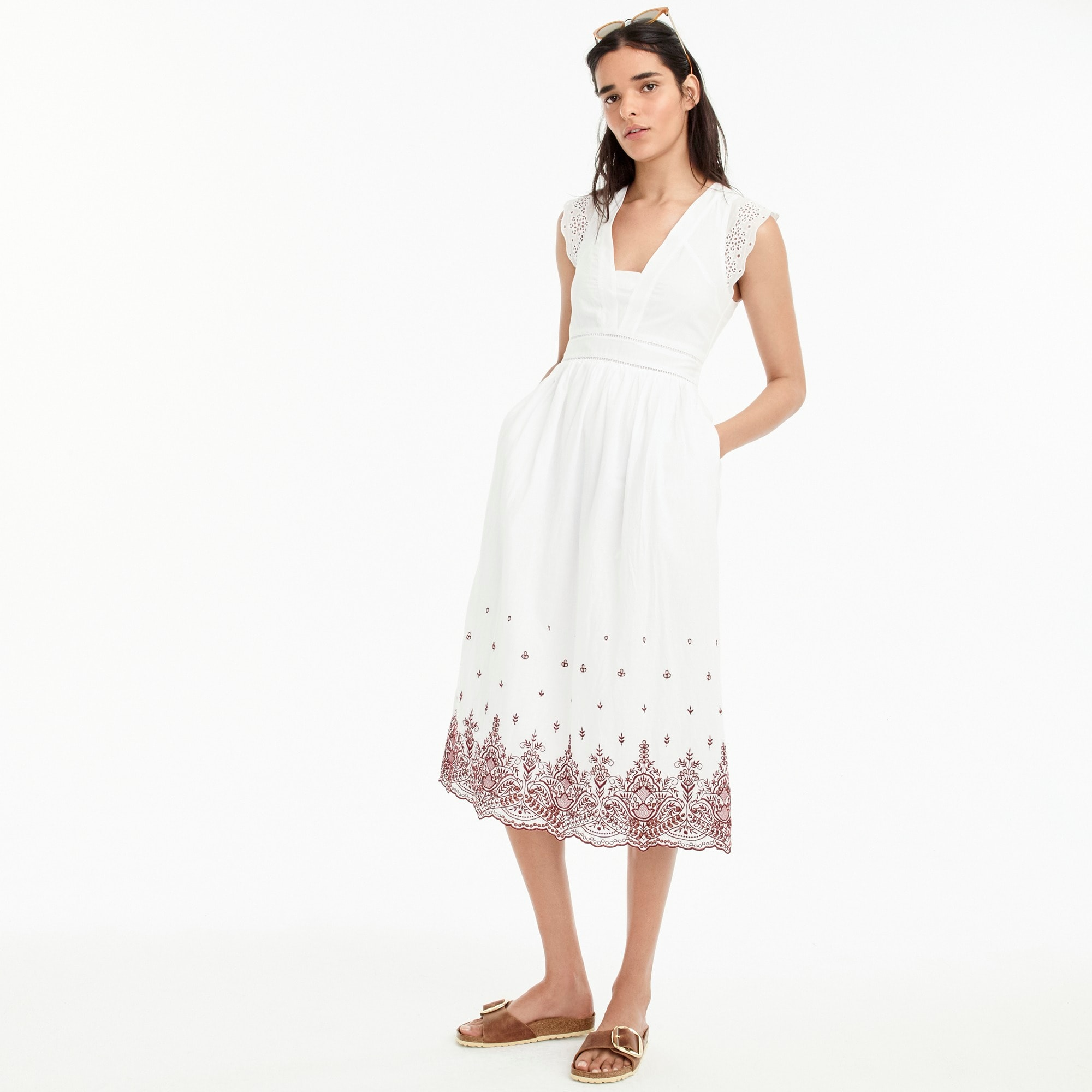 Point Sur embroidered flutter-sleeve midi dress women dresses c