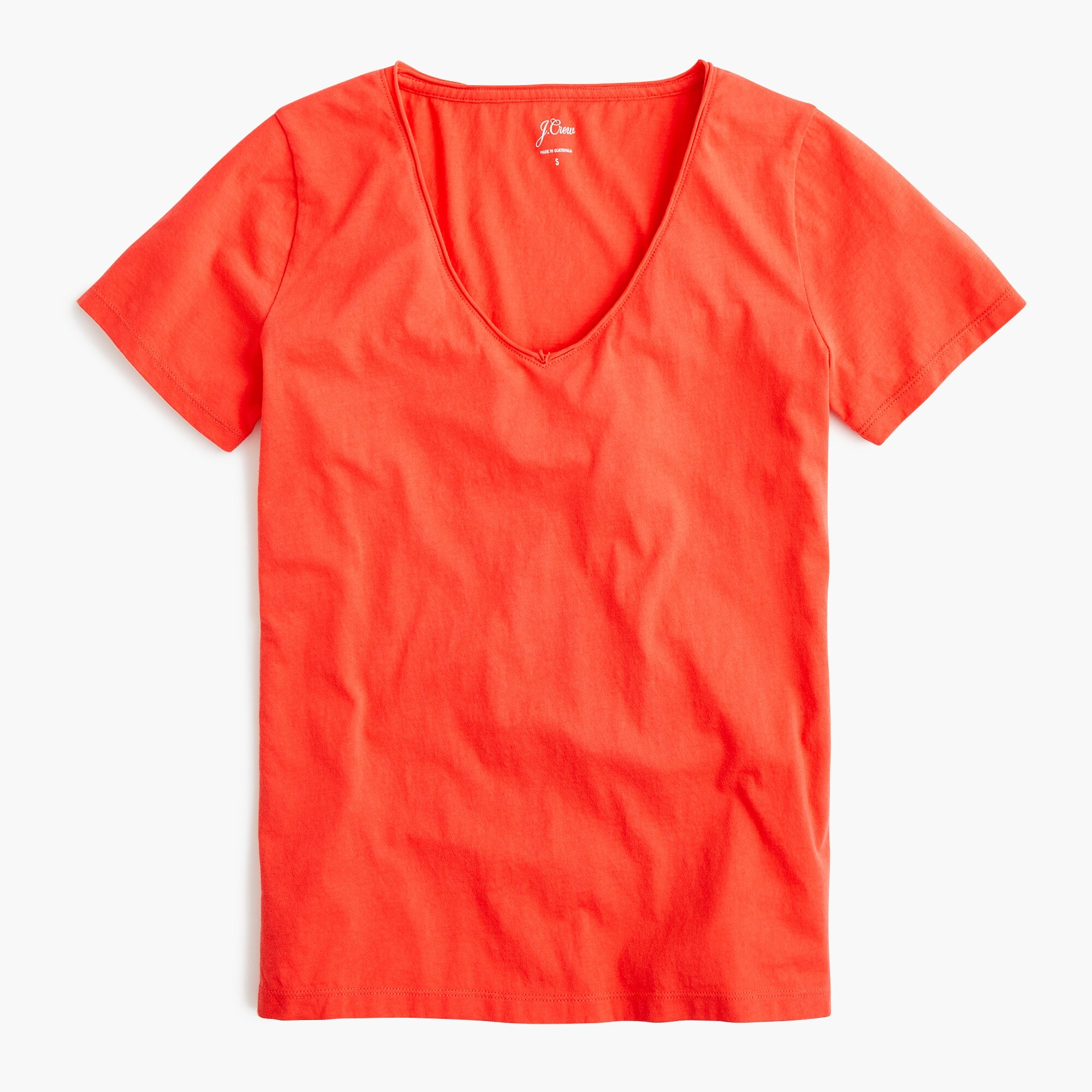 Supersoft Supima® raw-edge V-neck T-shirt