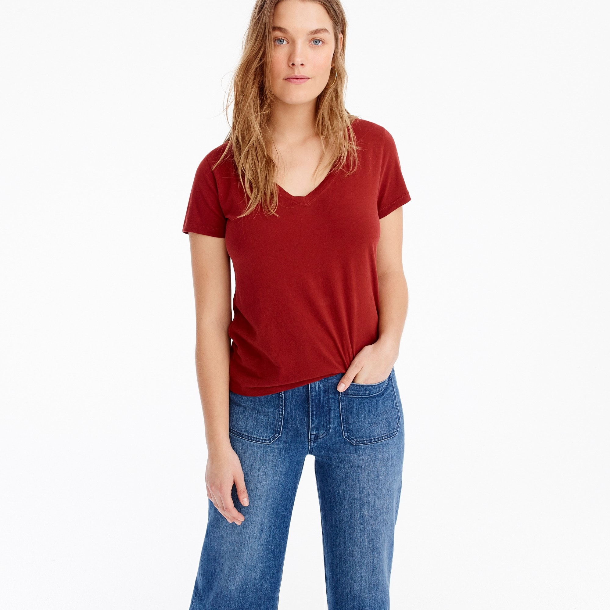 J.Crew Mercantile V-neck broken-in T-shirt women t-shirts & tank tops c