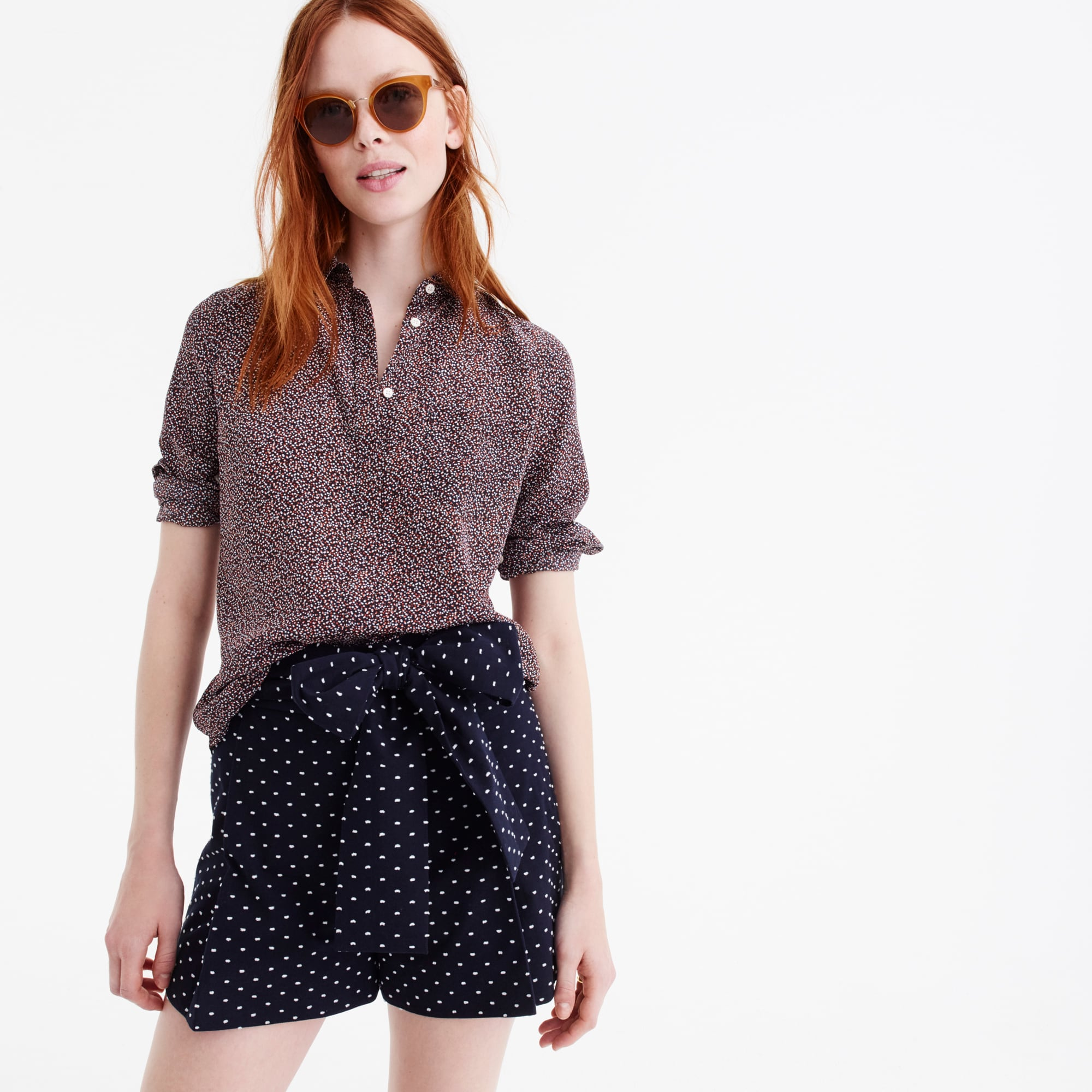 Silk button-up shirt in party dot women shirts & tops c