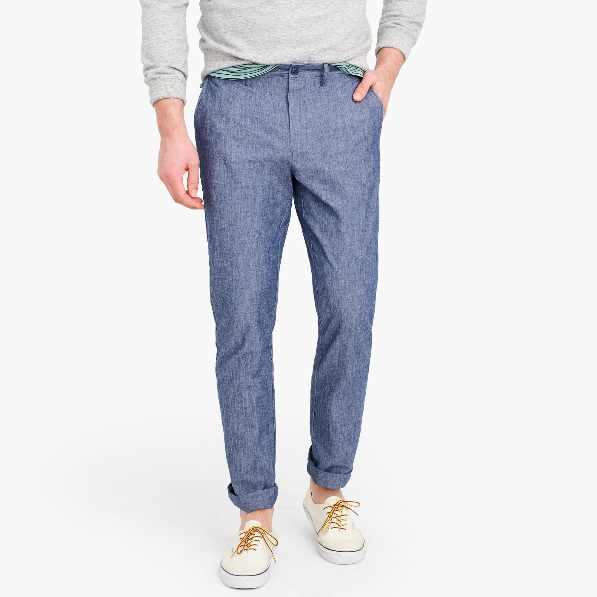 770 Straight-fit chino in stretch chambray men pants c