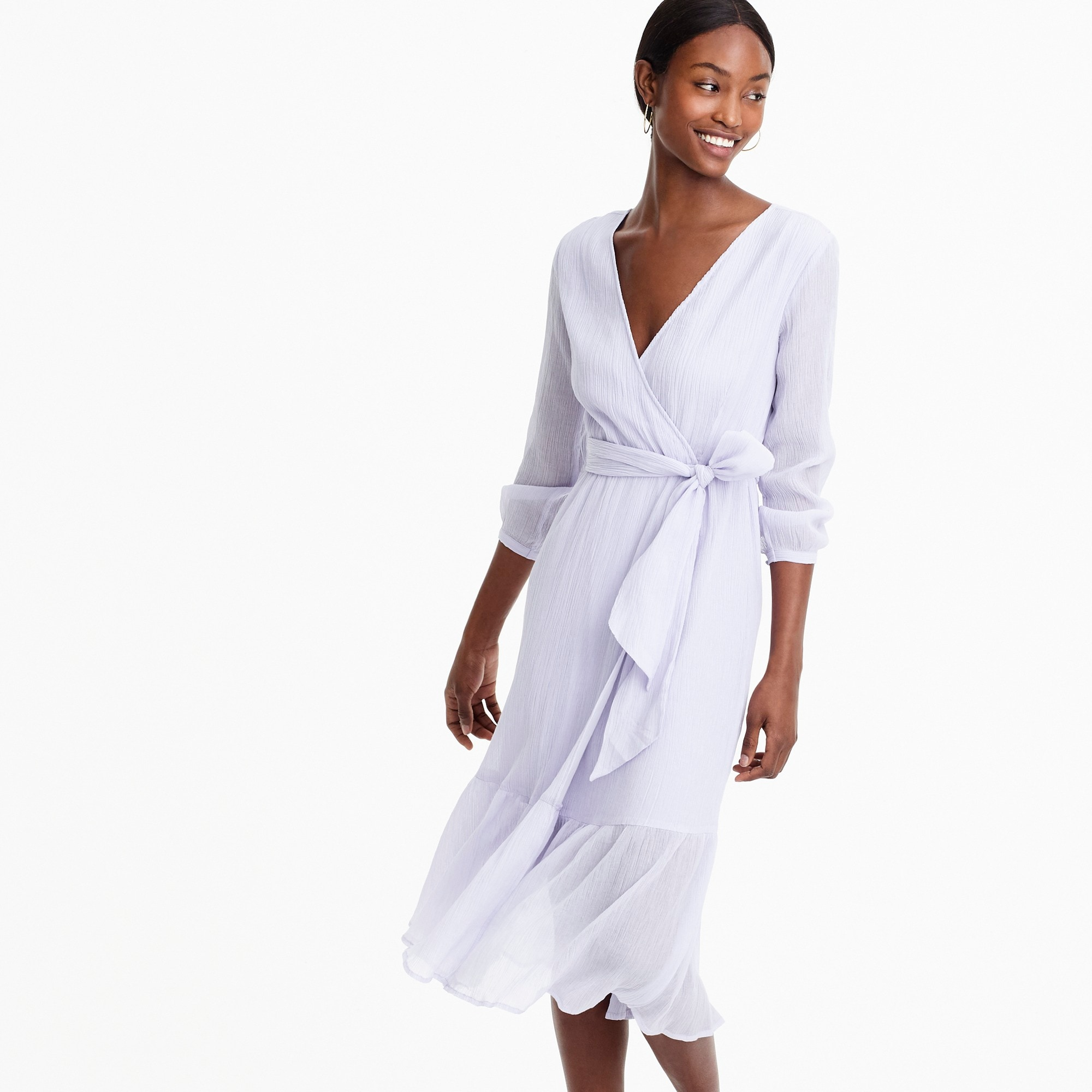 womens Point Sur faux-wrap dress in crinkle cotton