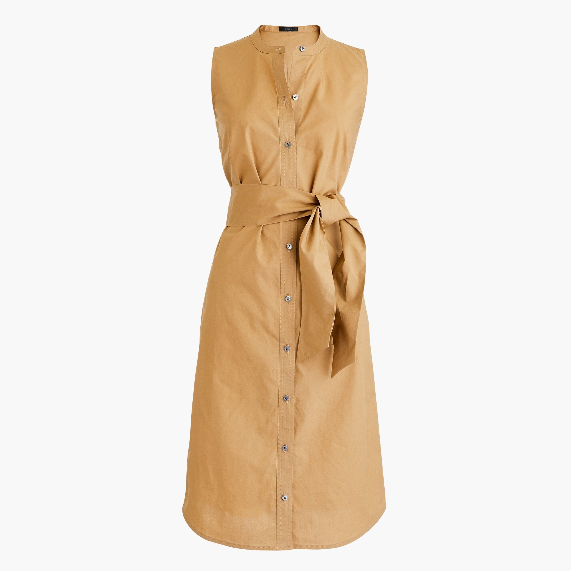 Tall sleeveless shirtdress in cotton poplin