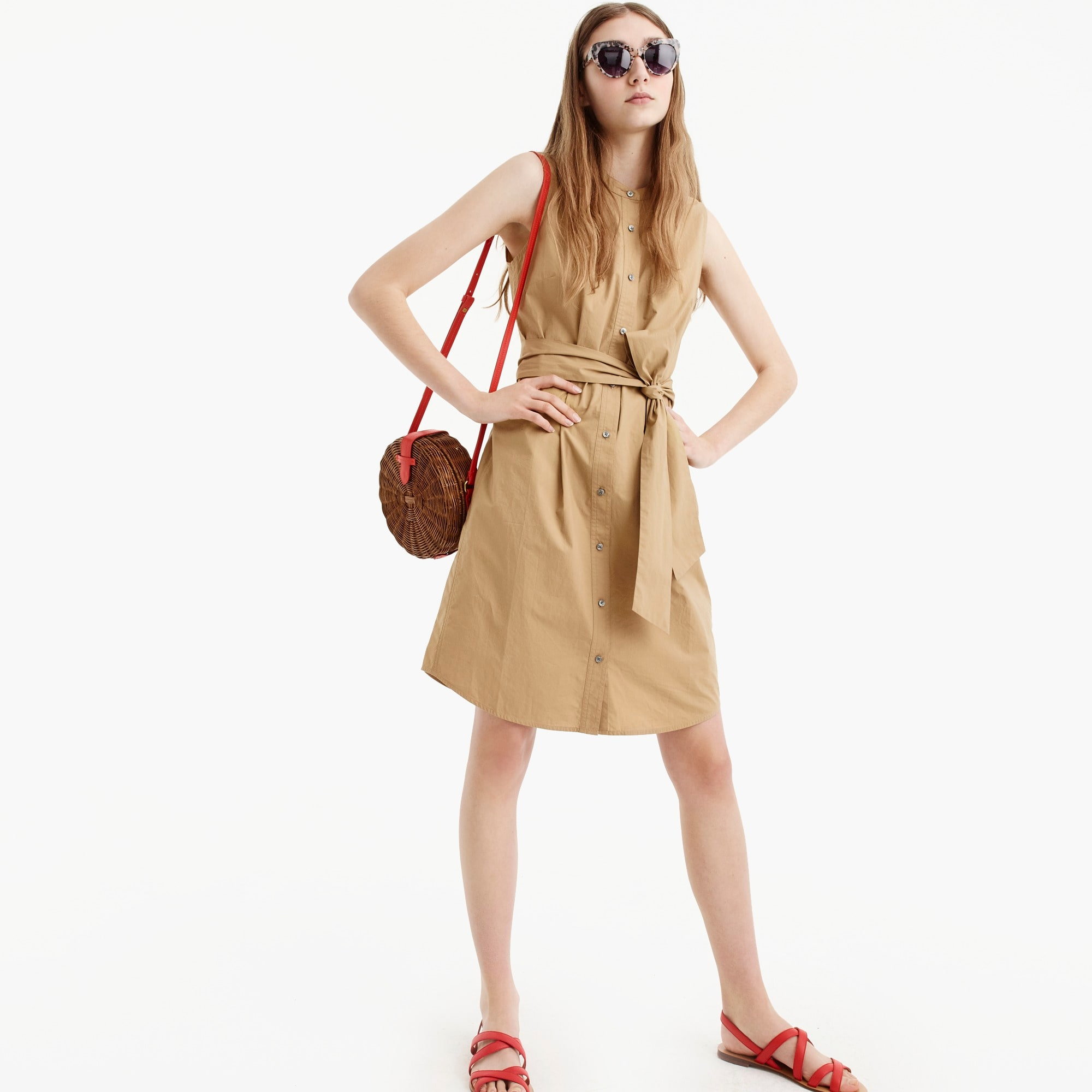 Sleeveless shirtdress in cotton poplin women dresses c