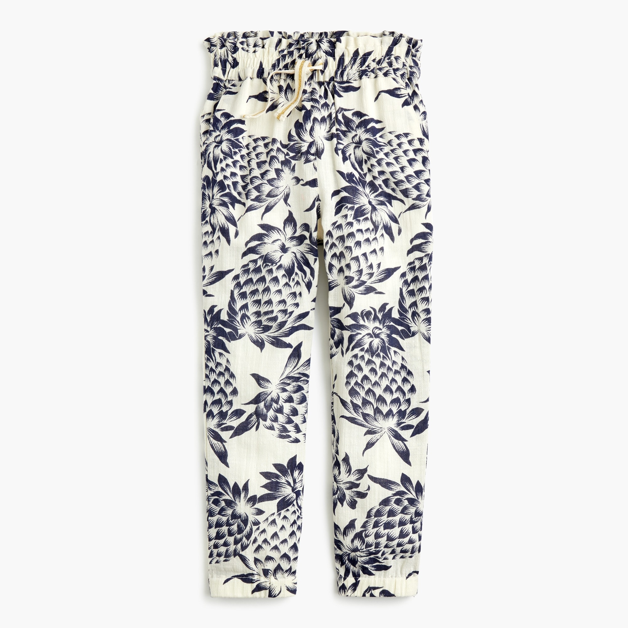girls' drawstring pant in pineapple print - girls' pants