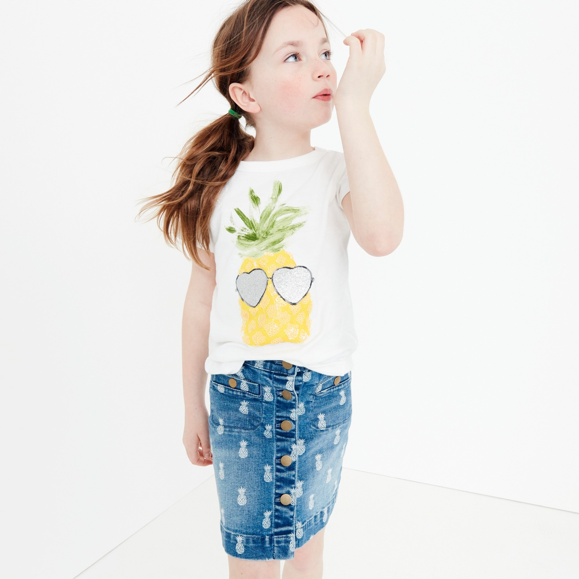 Girls' denim skirt in pineapple print girl denim c